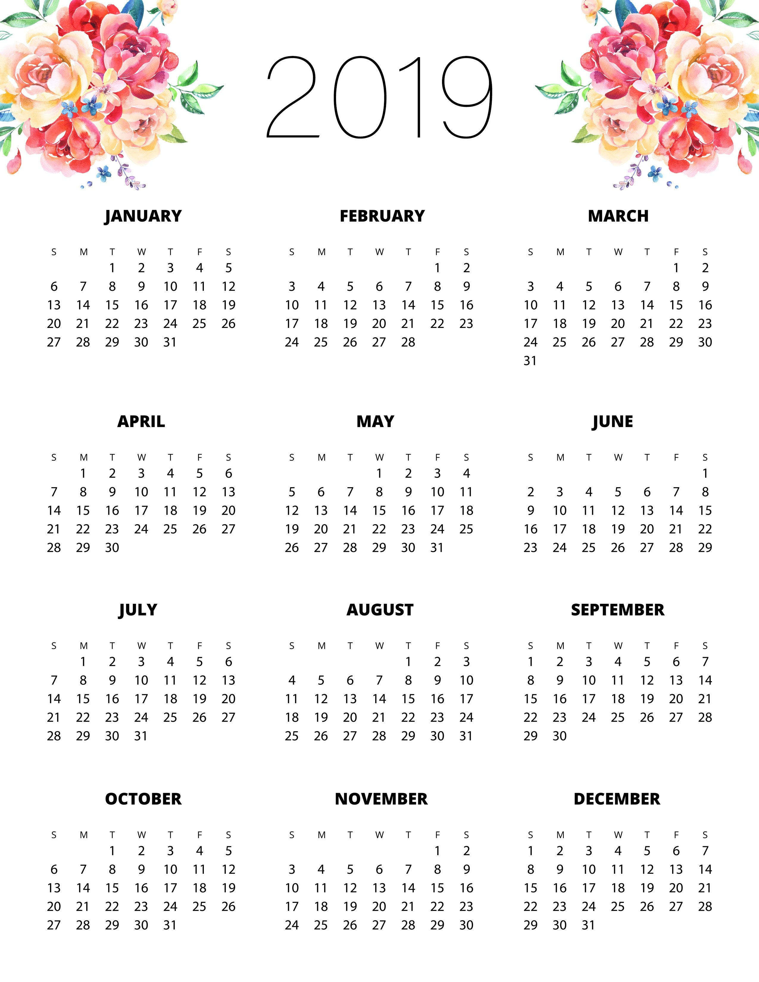 Free Printable 2019 Planner 50 Plus Printable Pages!!! - The Cottage Calendar 2019 Print Free
