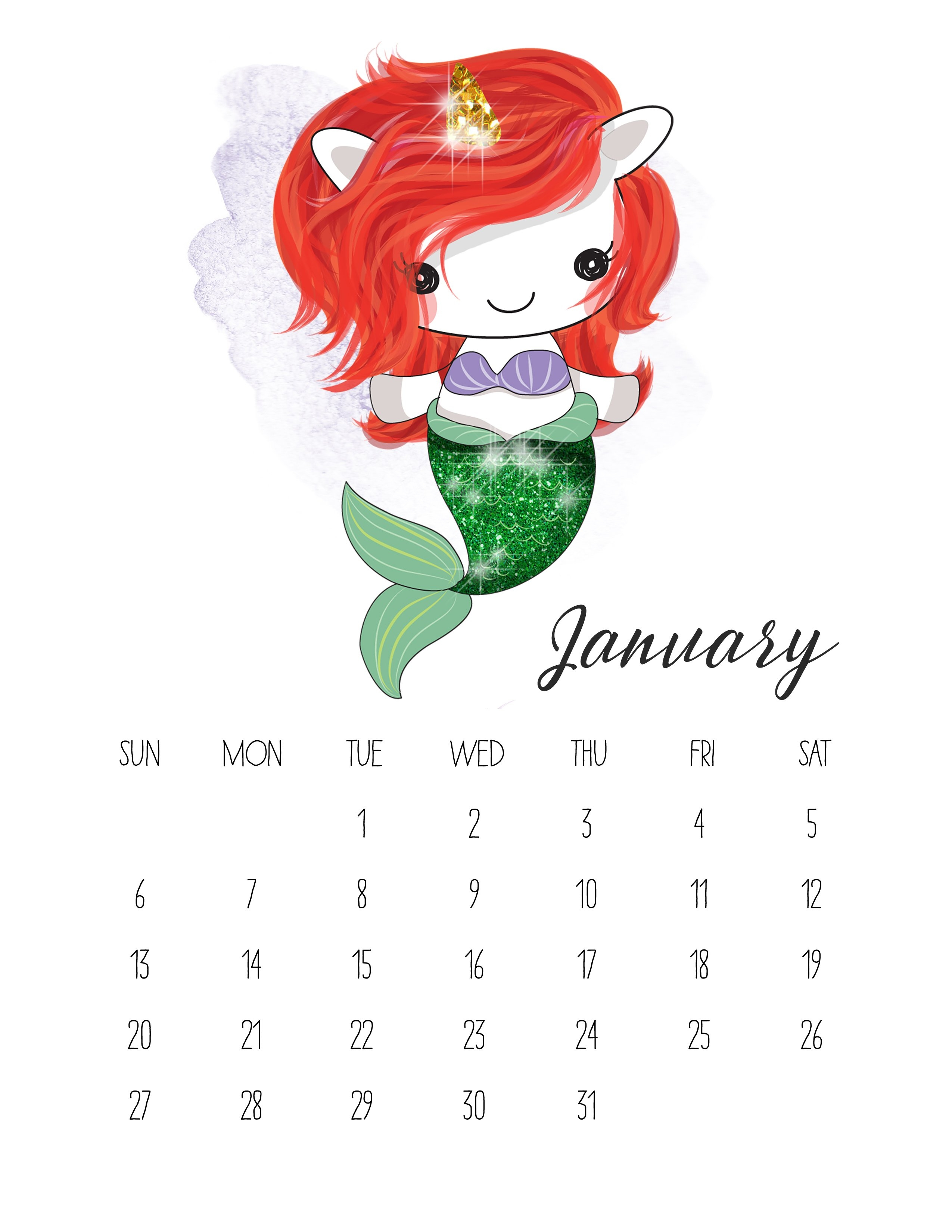 Free Printable 2019 Pop Culture Unicorn Calendar - The Cottage Market Calendar 2019 Unicorn