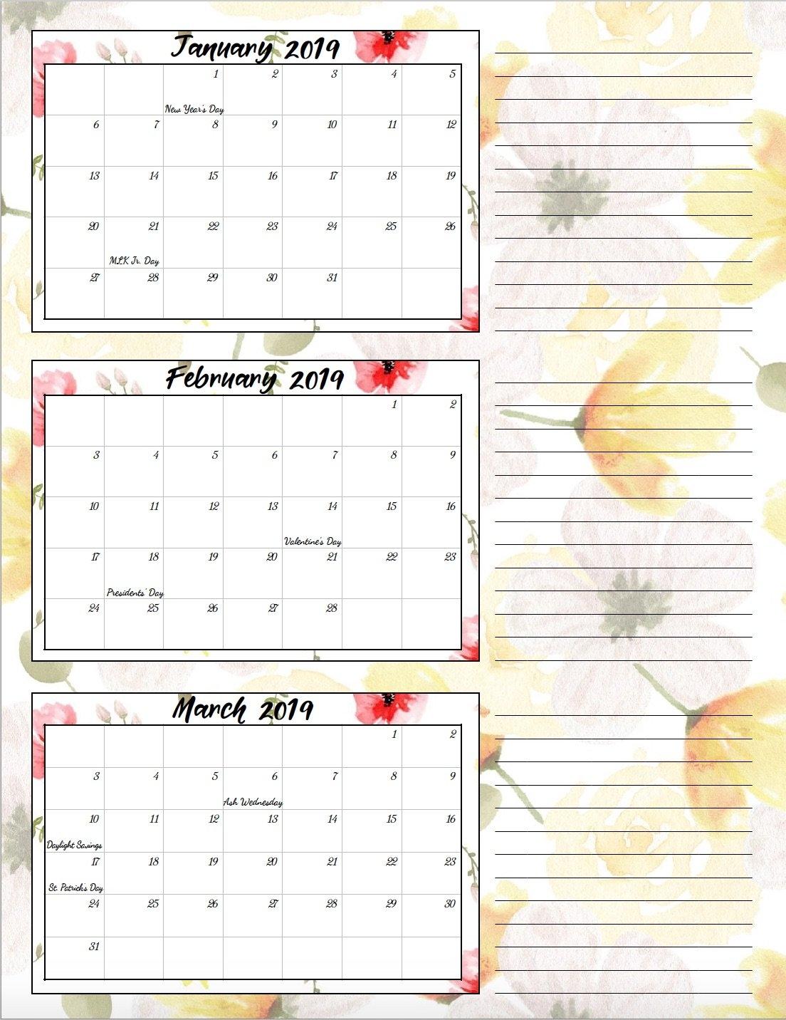 Free Printable 2019 Quarterly Calendars With Holidays: 3 Designs Calendar 2019 1St Quarter