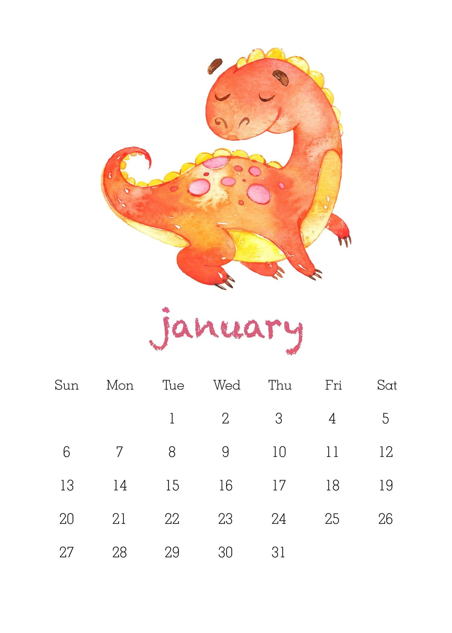 Free Printable 2019 Watercolor Dinosaur Calendar - The Cottage Market Calendar 2019 Octopus