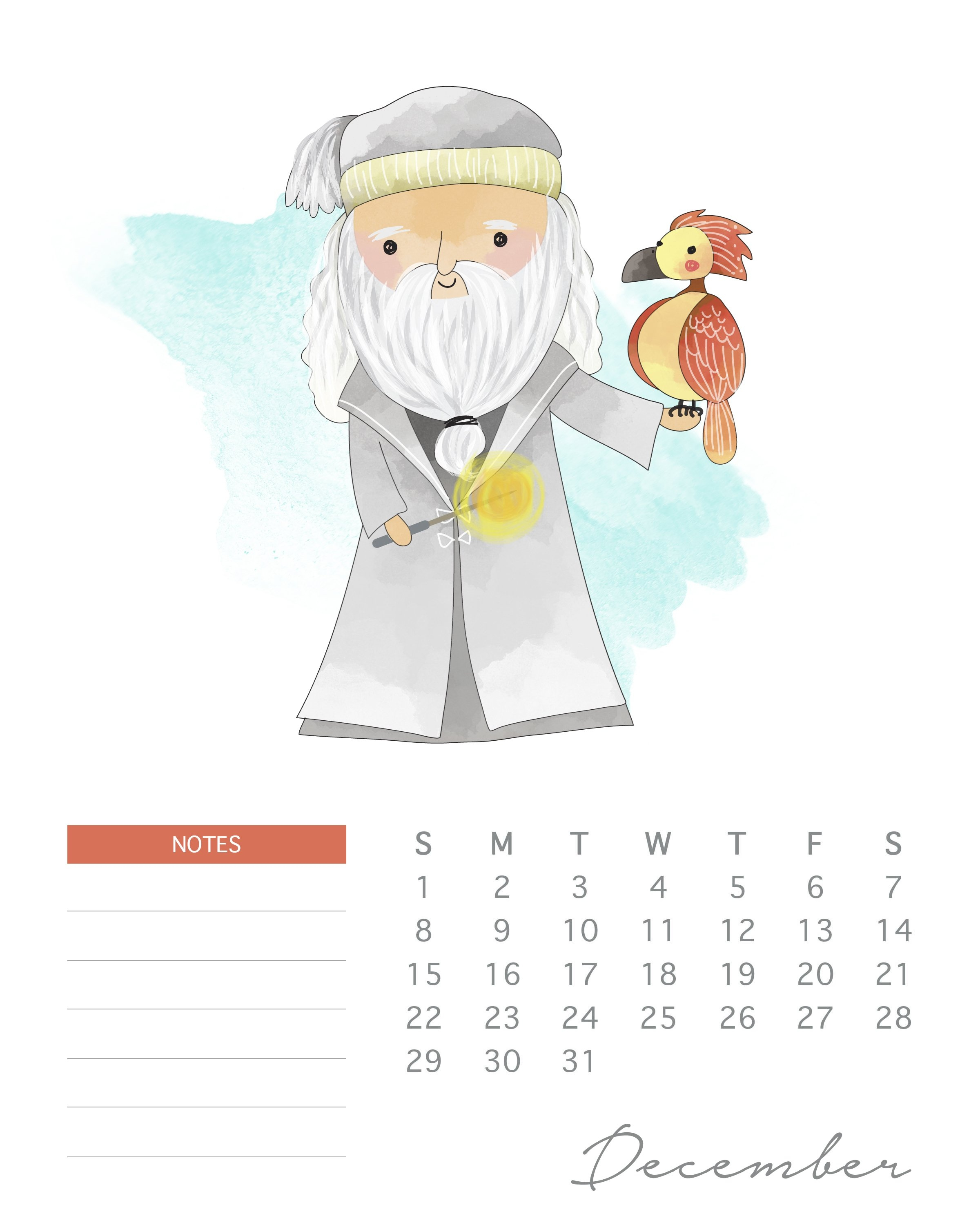 Free Printable 2019 Watercolor Harry Potter Calendar - The Cottage Calendar 2019 Harry Potter