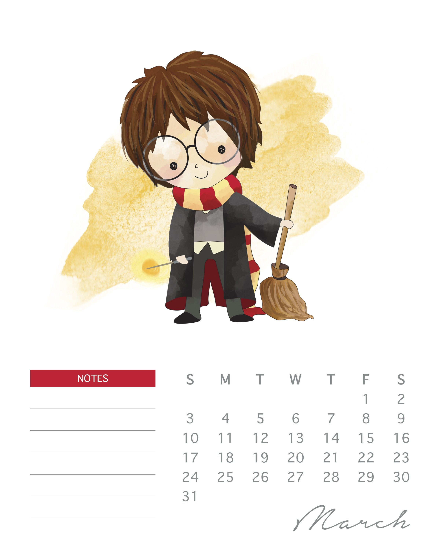 Free Printable 2019 Watercolor Harry Potter Calendar - The Cottage Calendar 2019 Harry Potter