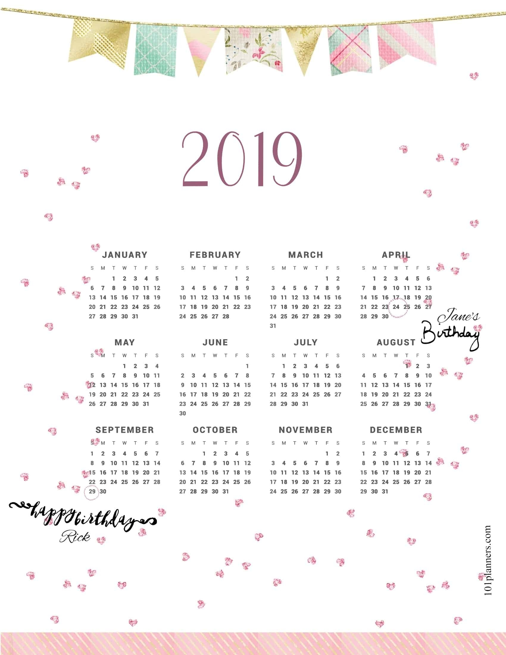 Free Printable 2019 Yearly Calendar At A Glance | 101 Backgrounds At A Glance Calendar 2019