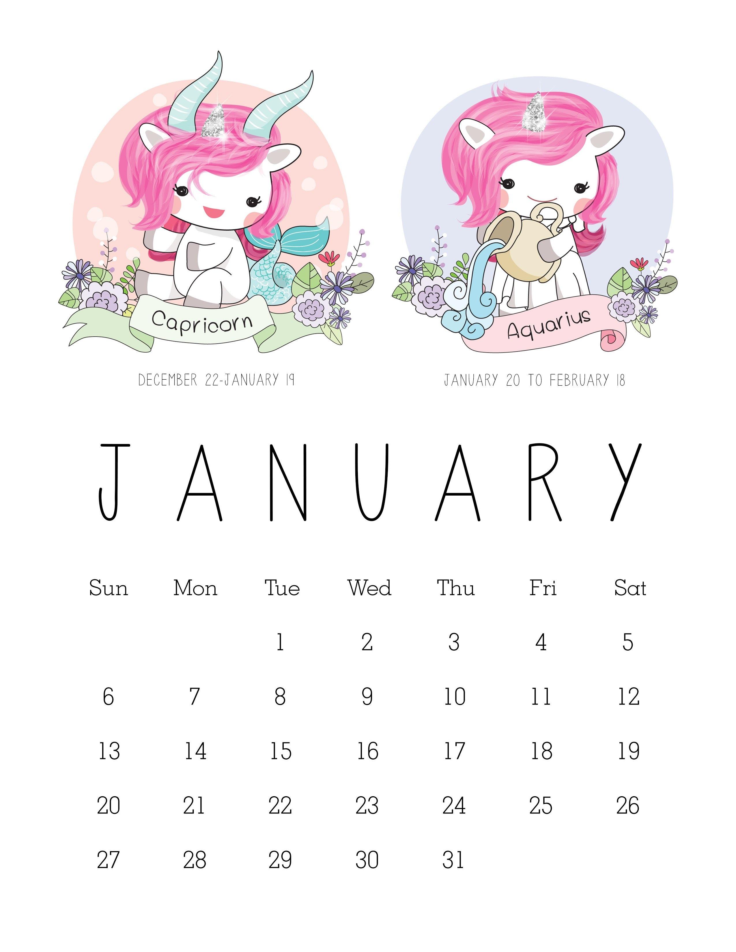 Free Printable 2019 Zodiac Sign Kawaii Unicorn Calendar - The 2019 Zodiac Calendar