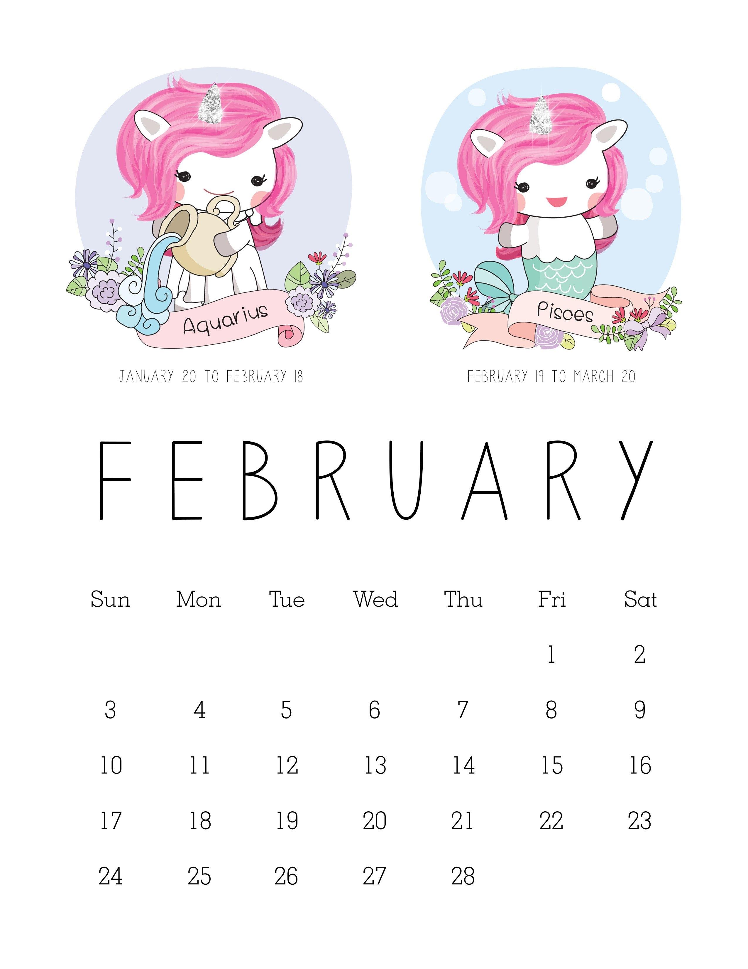 Free Printable 2019 Zodiac Sign Kawaii Unicorn Calendar - The Calendar 2019 Unicorn