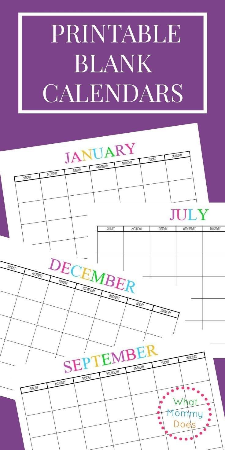 Free Printable Blank Monthly Calendars - 2018, 2019, 2020, 2021 2019 Calendar 8X11