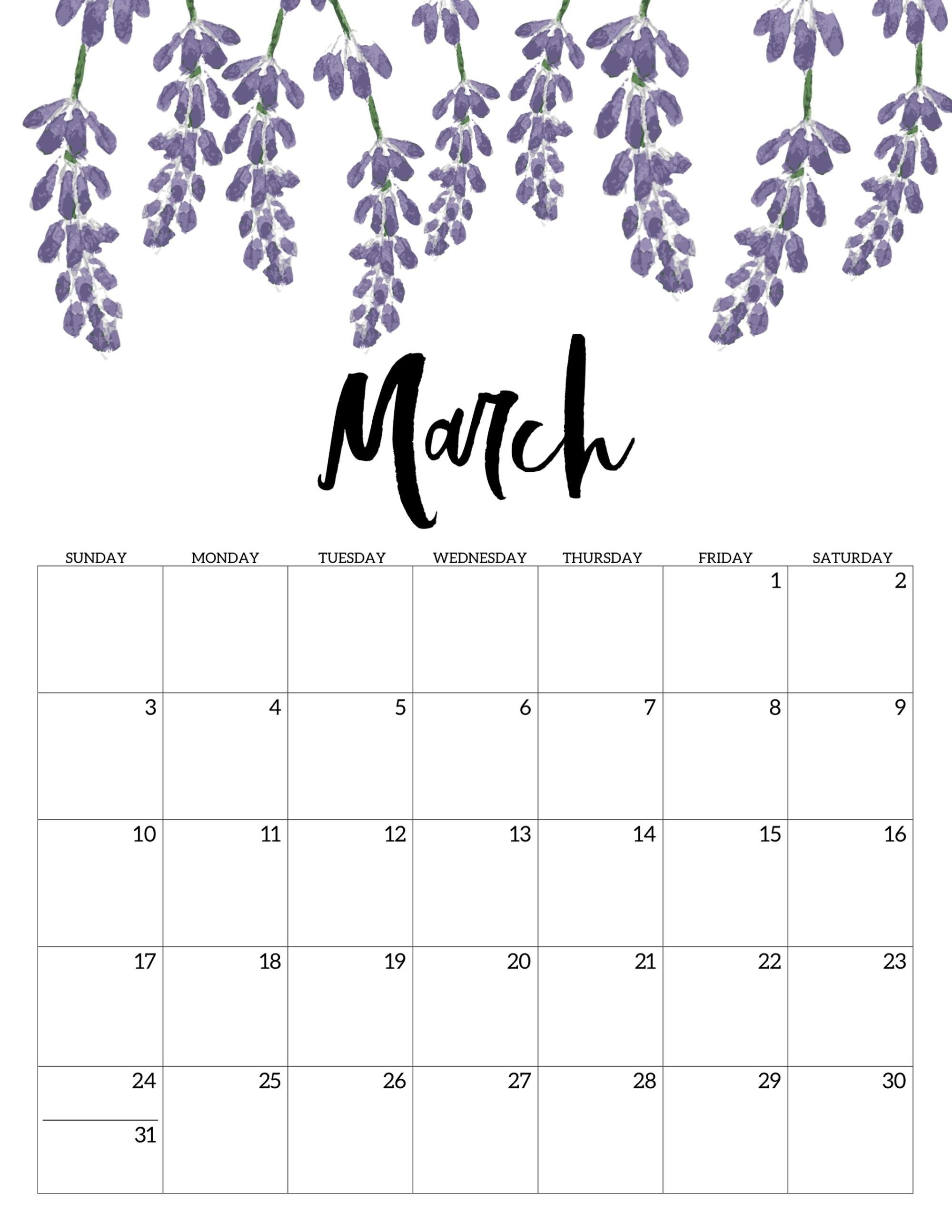 Free Printable Calendar 2019 - Floral | Calendar | Calendar, Free Calendar 2019 Free Print