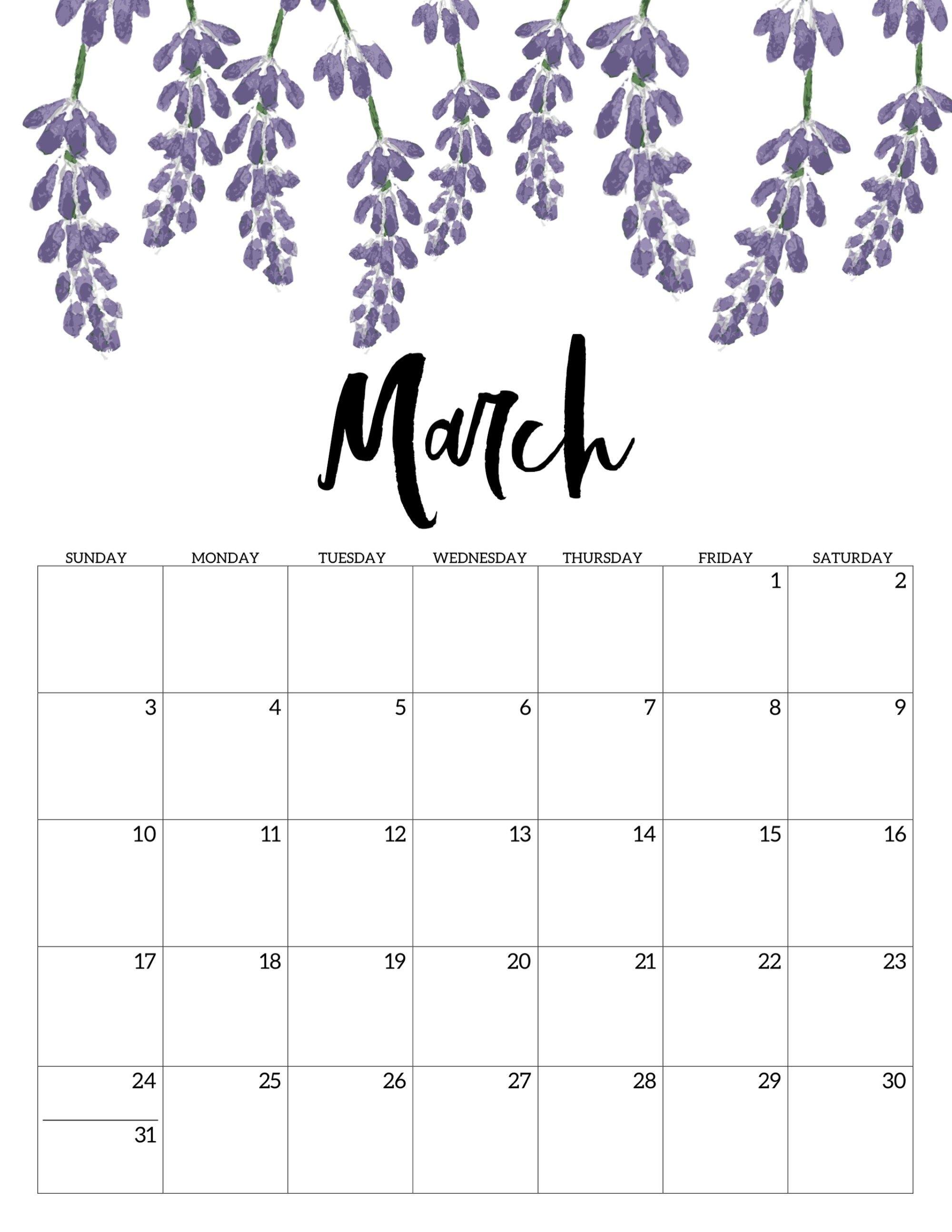 Free Printable Calendar 2019 - Floral | Calendar | Calendar, Free Print A Calendar 2019 Free