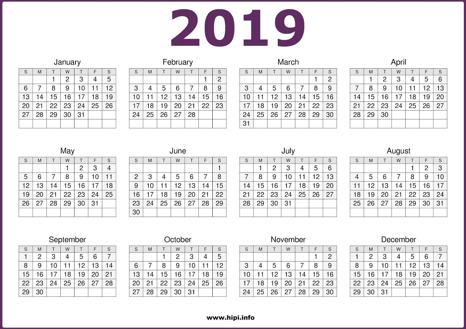Free Printable Calendar 2019 In Pdf Word Excel Template Calendar 2019 Pdf