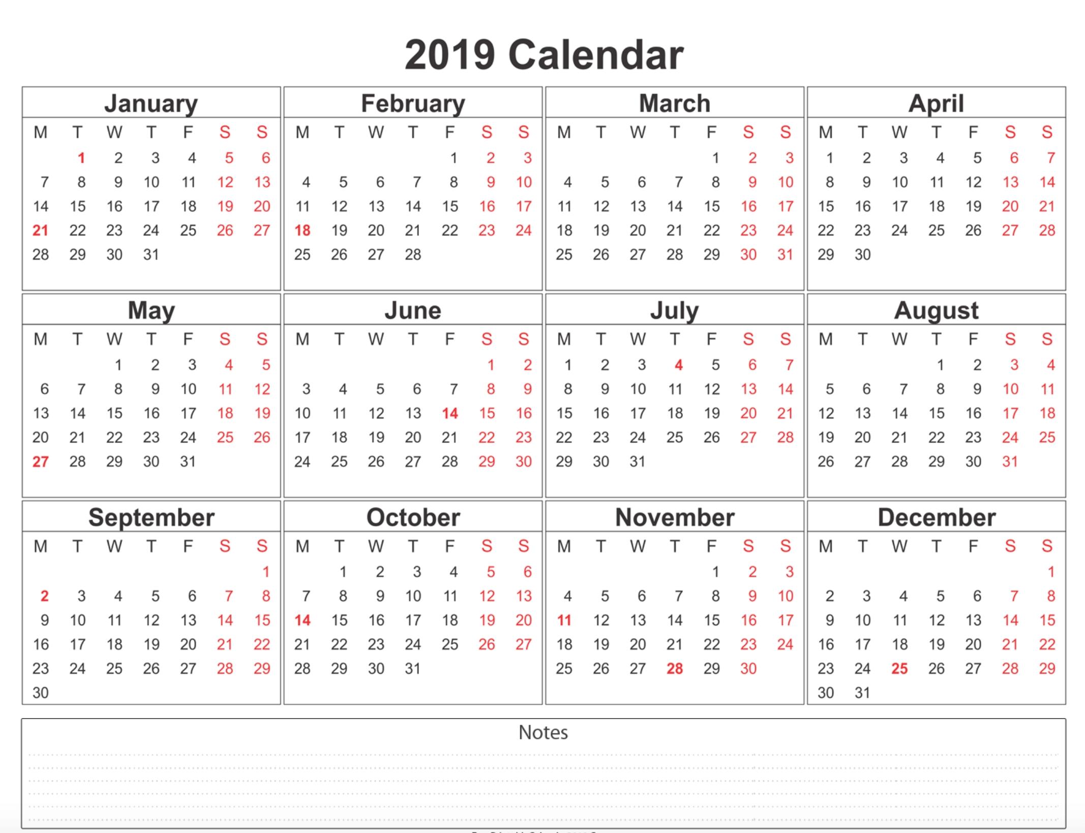 Free Printable Calendar 2019 With Holidays | Blank 12 Month Calendar Calendar 2019 12