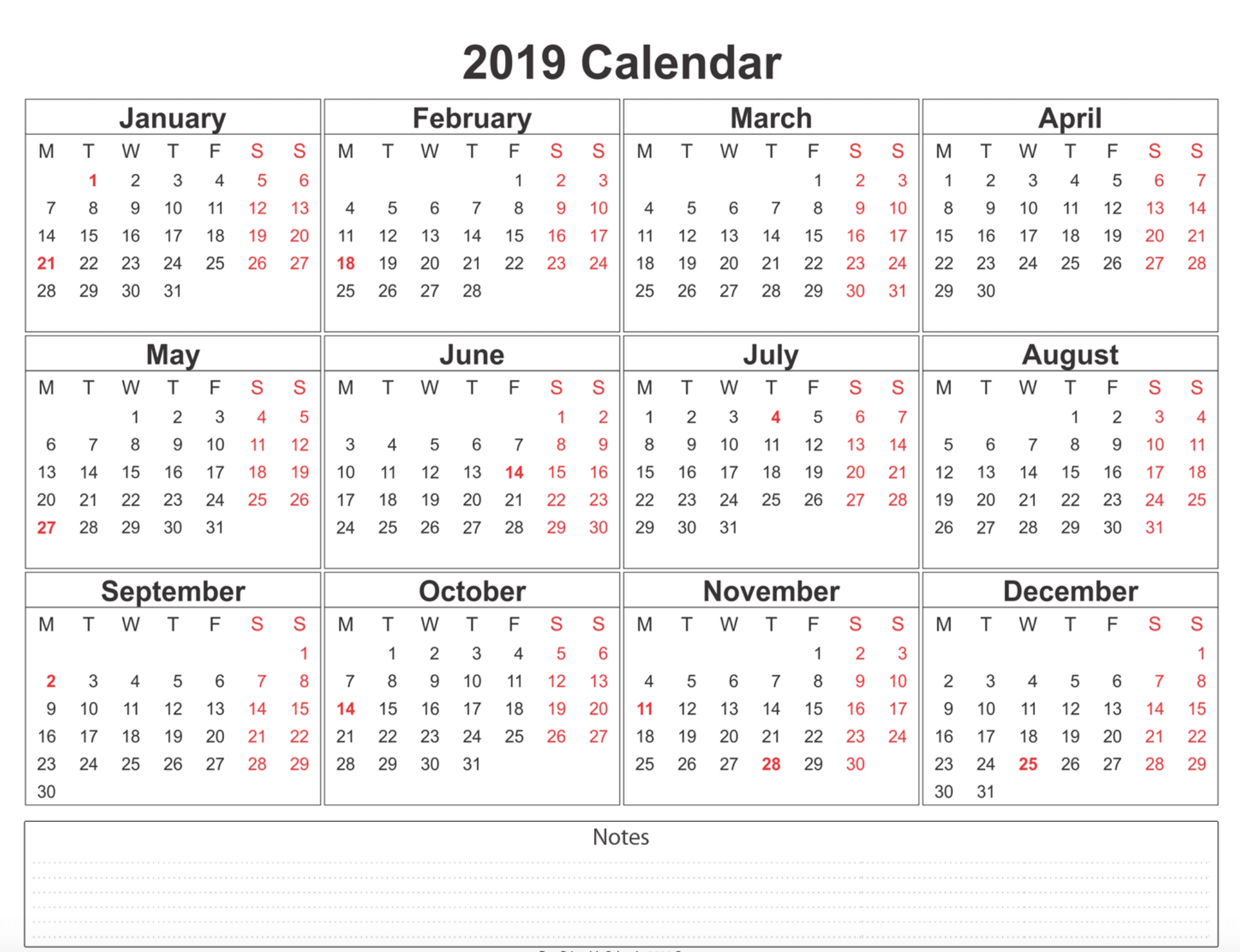 Free Printable Calendar 2019 With Holidays | Blank 12 Month Calendar Calendar 2019 Monthly Pdf