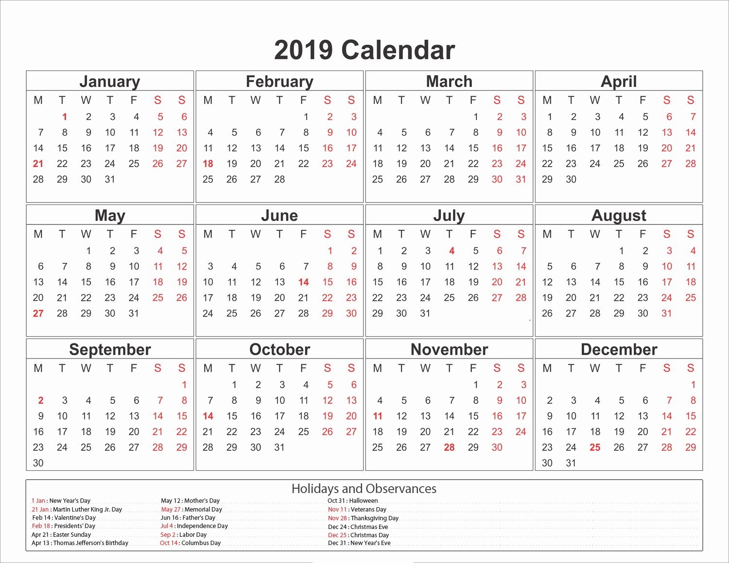 Free Printable Calendar 2019 With Holidays | Blank 12 Month Calendar Calendar 2019 Year Printable Free