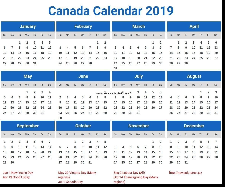 Free Printable Calendar Canada 2019 Calendar Canada Printable Canada Calendar Of 2019 Canada