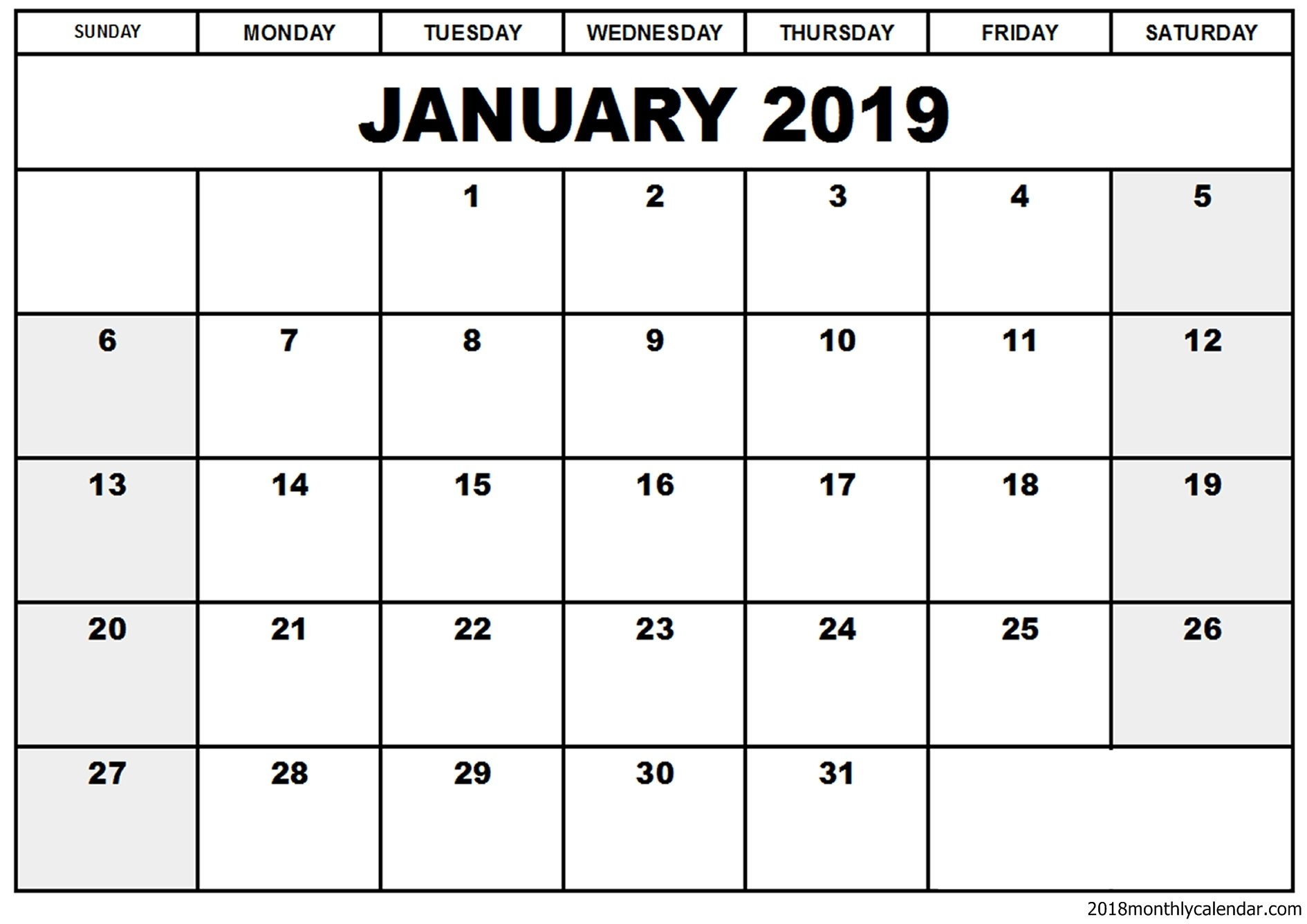Free Printable January 2019 Editable Calendar [Download] | Printable Download A Calendar 2019