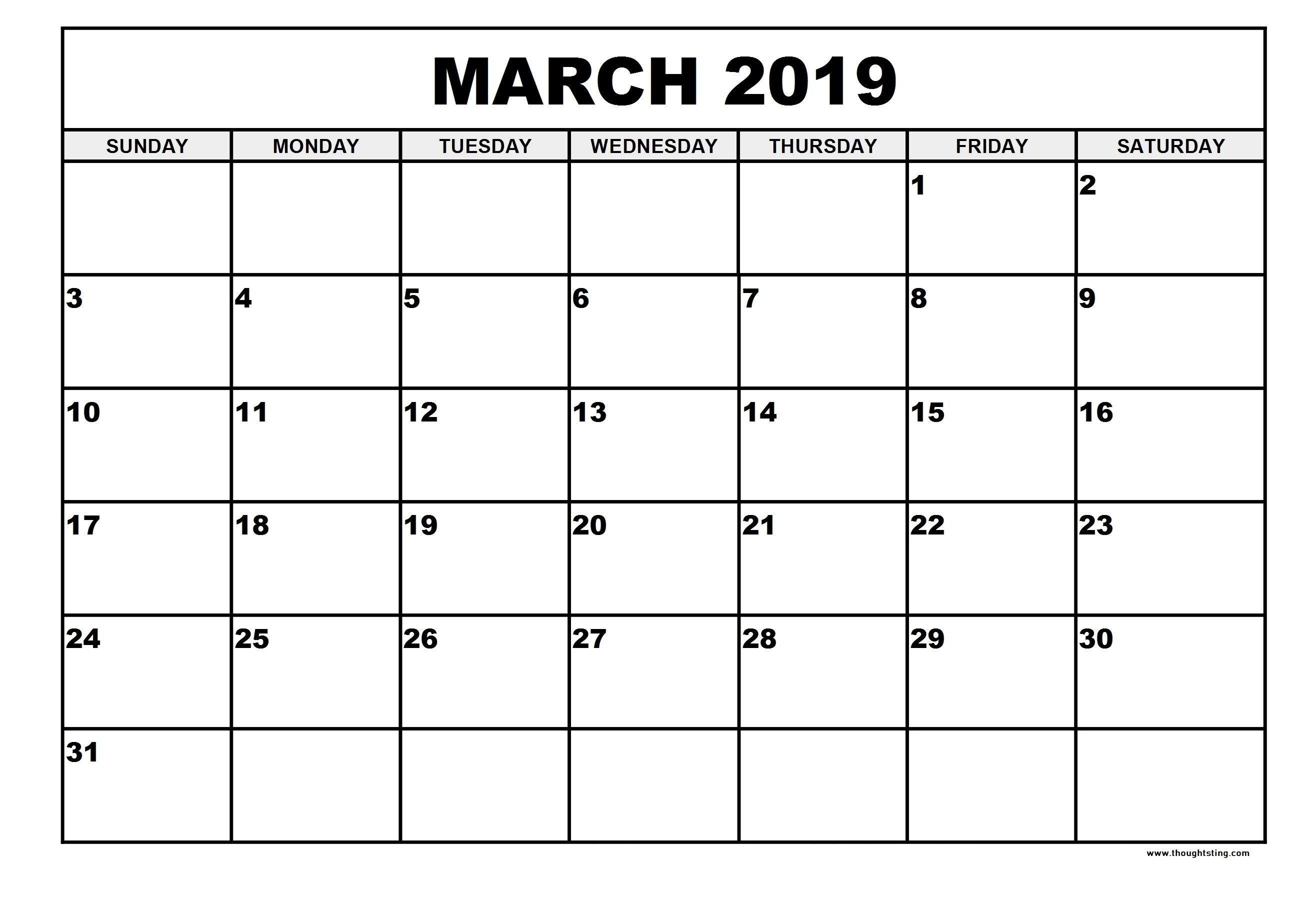 Free Printable March 2019 Calendar Portrait, Landscape - Free March 1 2019 Calendar