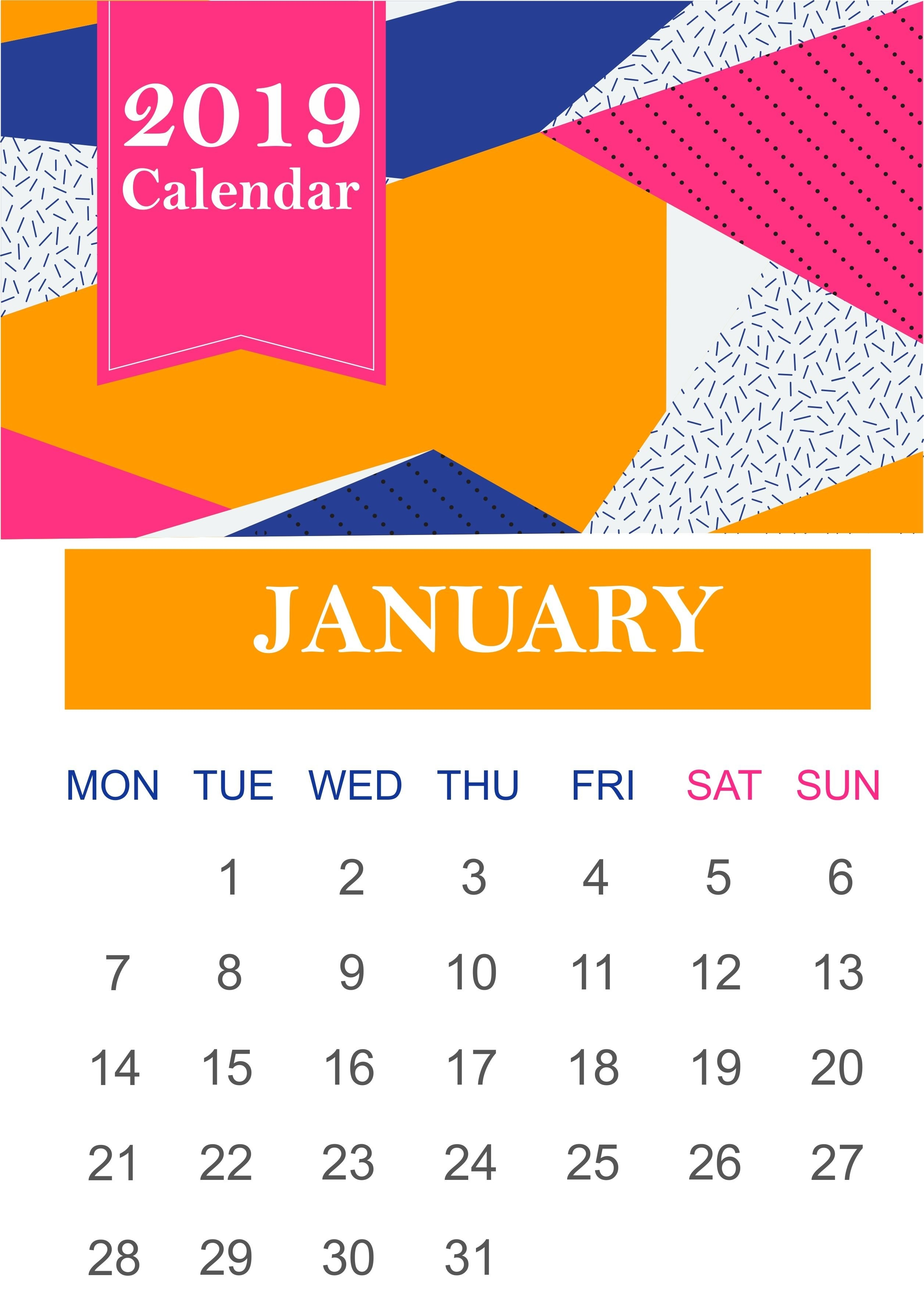 Free Sample Template Of January 2019 Calendar Pdf Excel Wordjanuary January 7 2019 Calendar