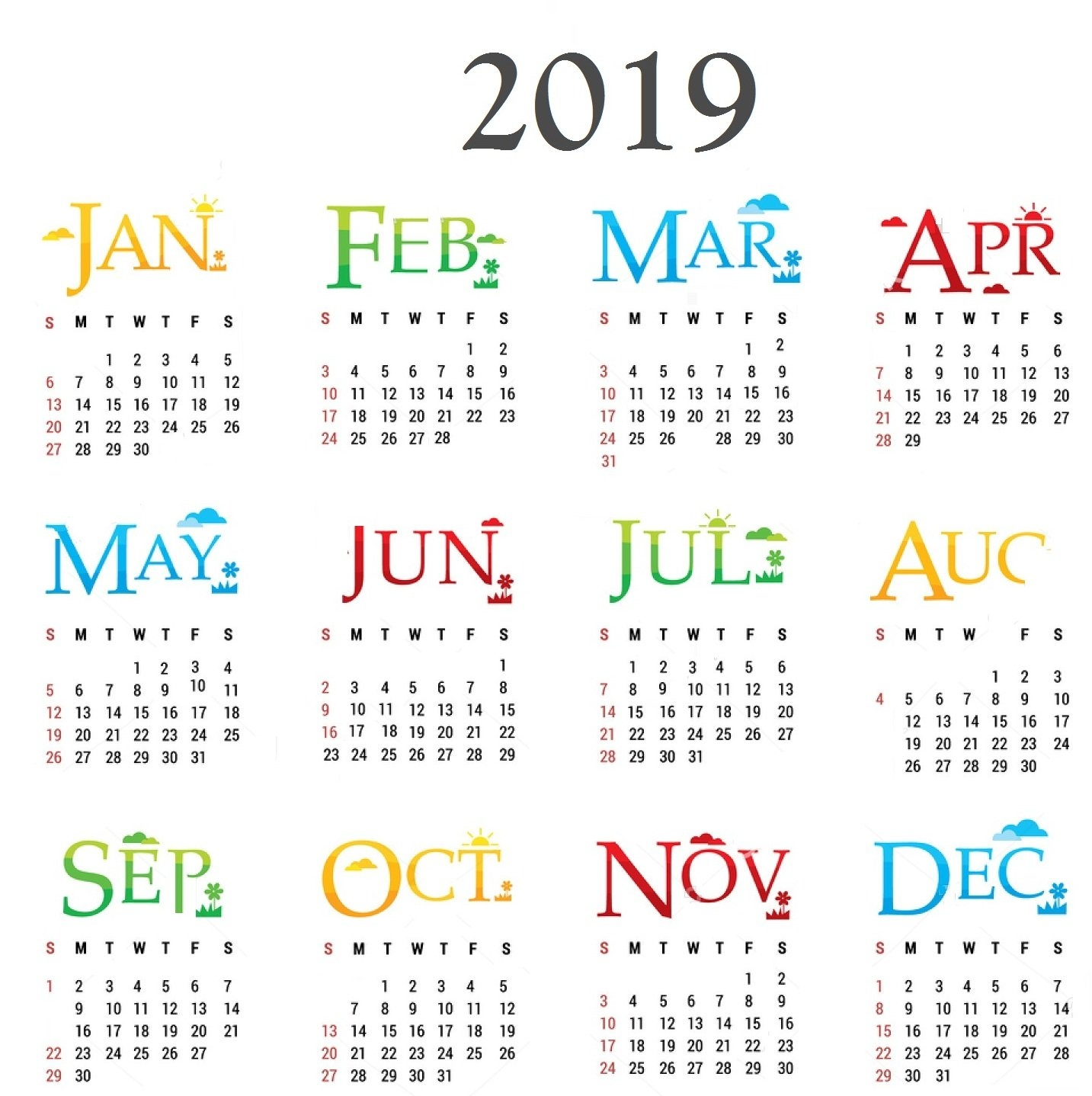 Free Yearly Calendar 2019 With Holidays | Free Printable 2018 Calendar 2019 Pdf