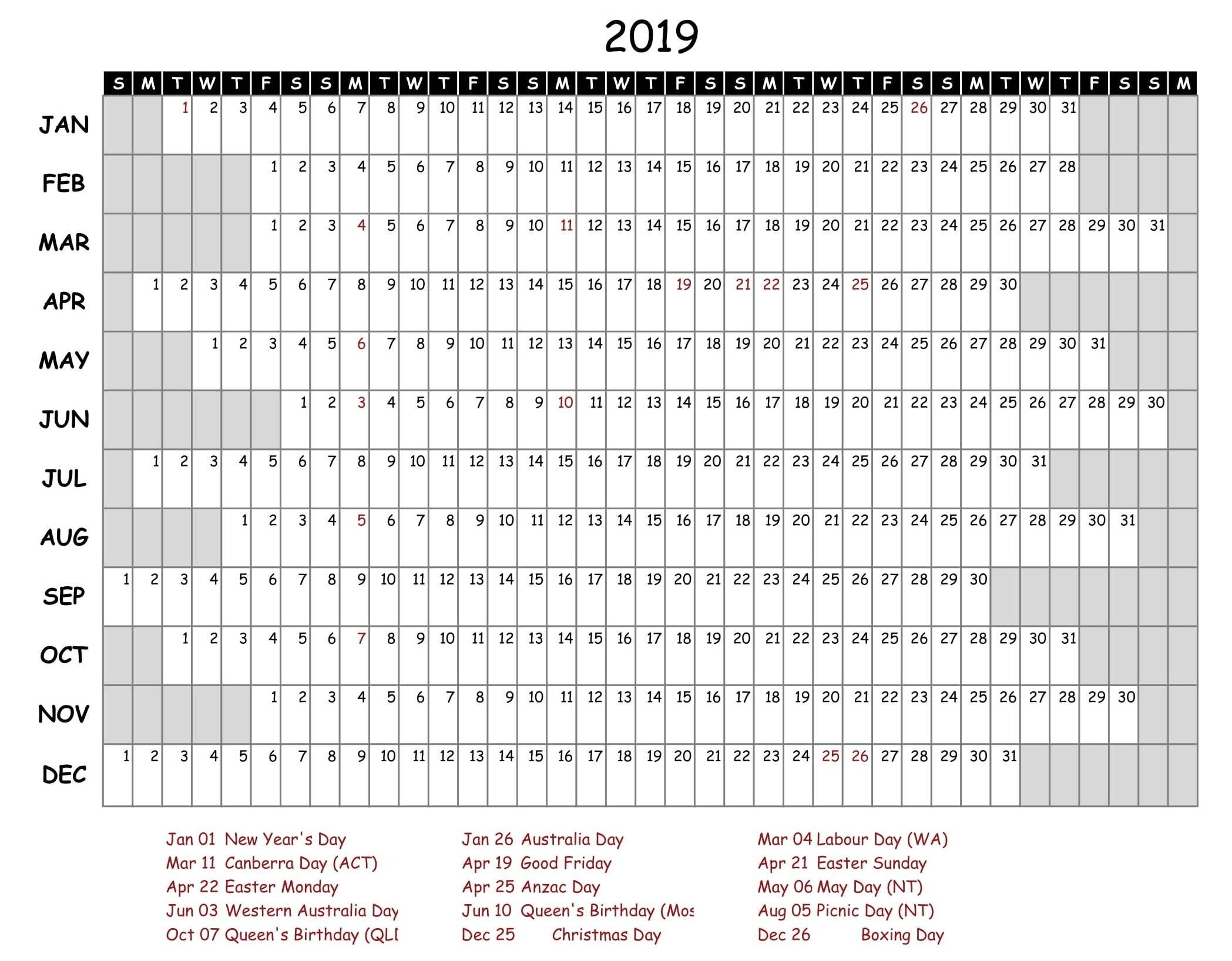 Free Yearly Calendar 2019 With Holidays | Free Printable 2018 Calendar 2019 Yearly Template