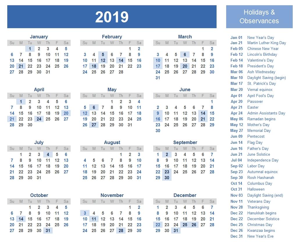 Free Yearly Printable Calendar 2019 With Uae (Dubai) Holidays U A E Calendar 2019