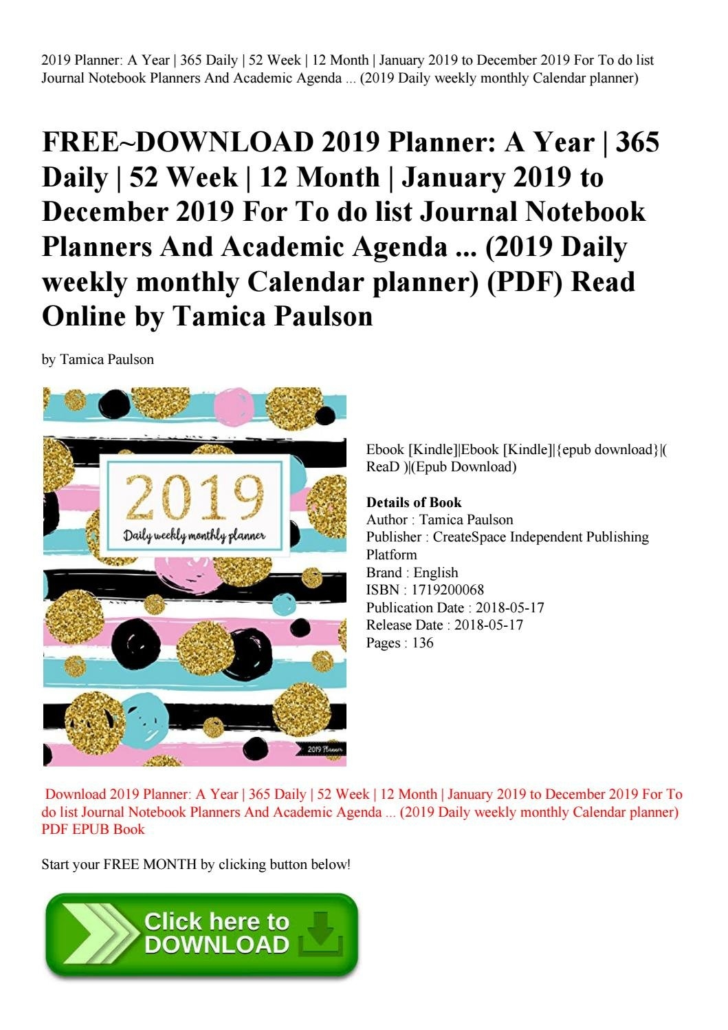 Free~Download 2019 Planner A Year 365 Daily 52 Week 12 Month January January 2019 Calendar 365