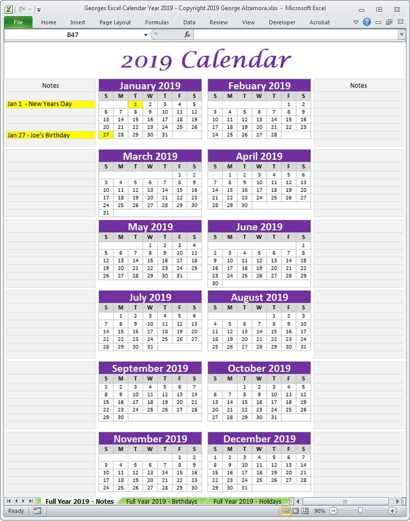 Georges Excel Calendar Year 2019 In 2019   Excel Calendar 2019 Calendar 2019 Vishu
