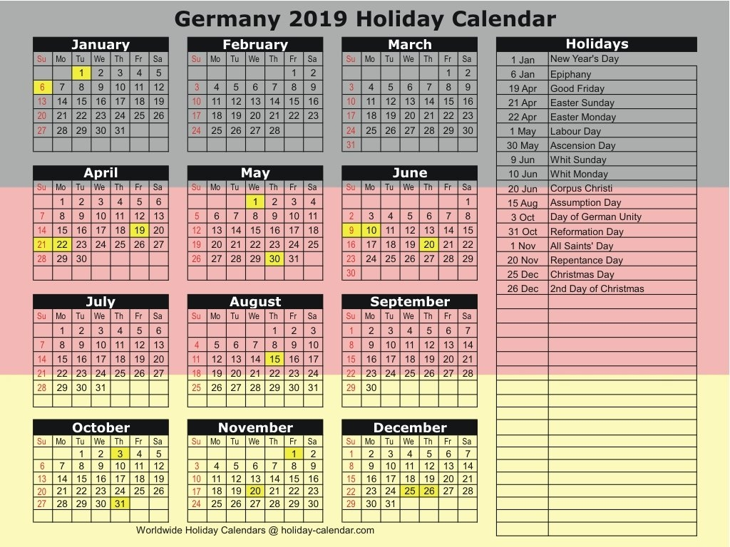 Germany 2019 / 2020 Holiday Calendar Calendar 2019 Germany Holidays