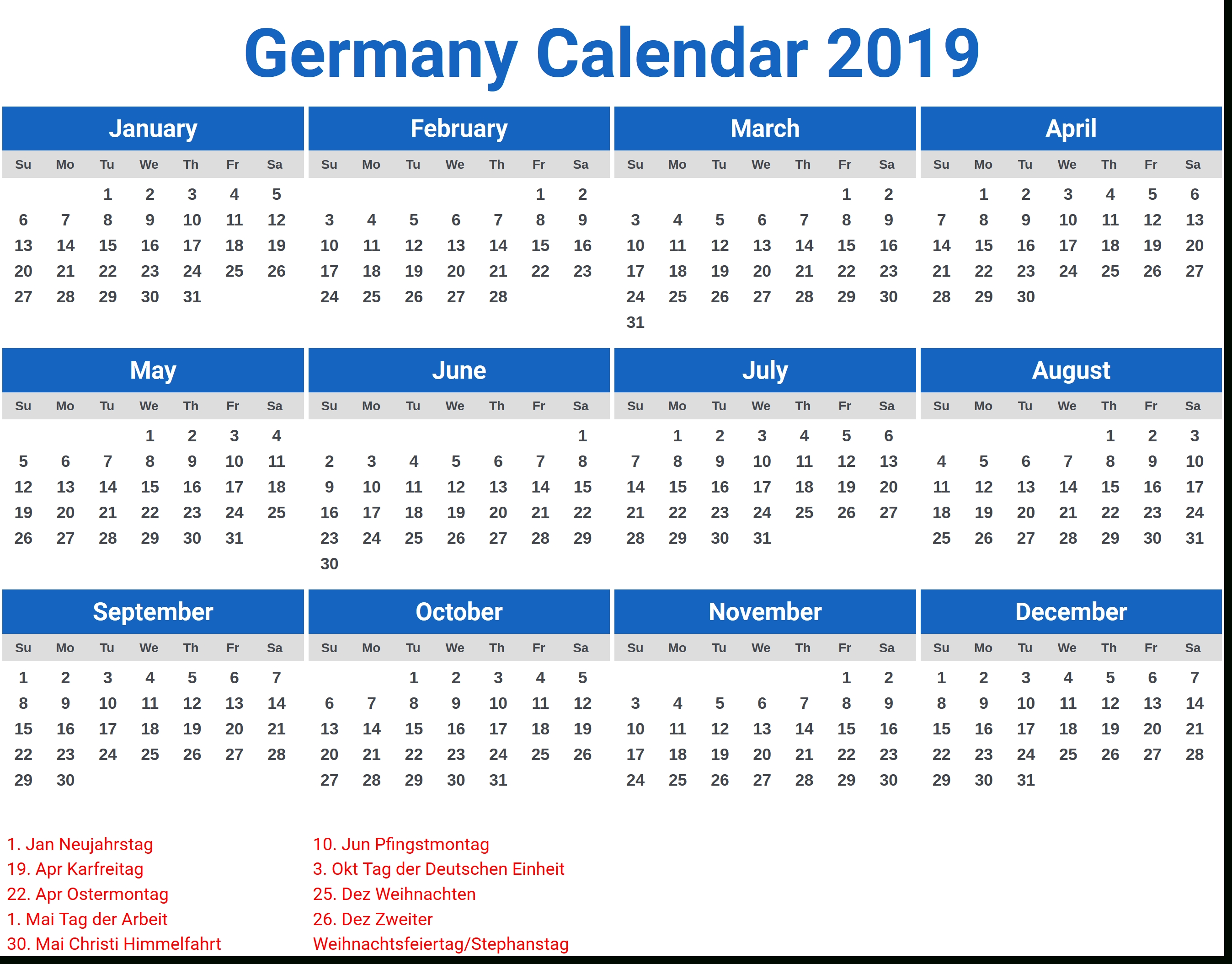 Germany 2019 Calendar With Holidays | 2019 Calendars | Pinterest Calendar 2019 Excel Germany