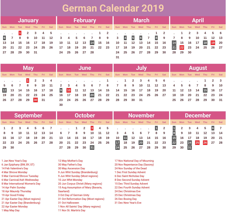 Germany 2019 Holidays Calendar | 2019 Calendars | Calendar, 2019 Calendar 2019 Germany Holidays