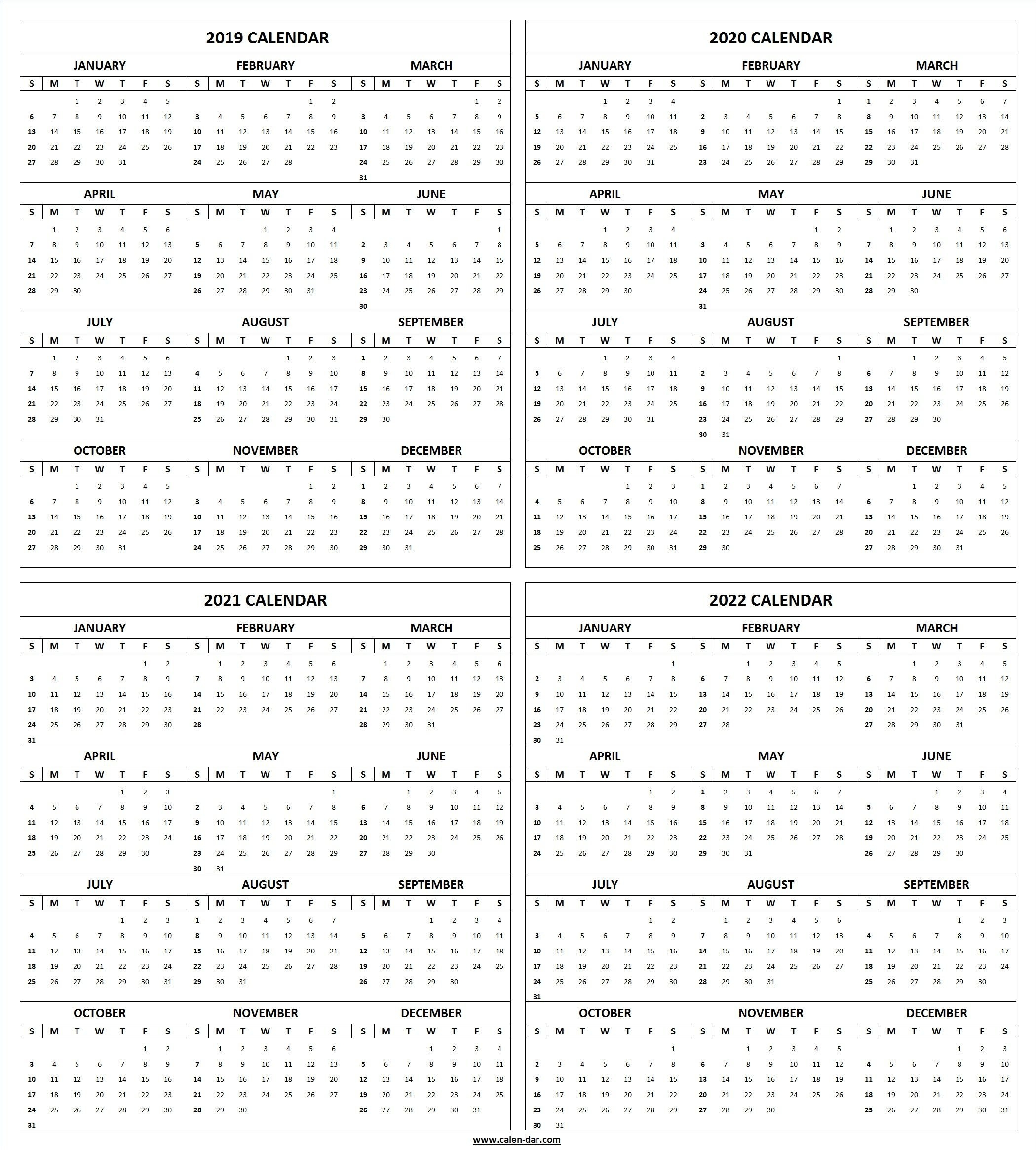 Get Free Blank Printable 2019 2020 2021 2022 Calendar Template 4 Year Calendar 2019 To 2022 Printable
