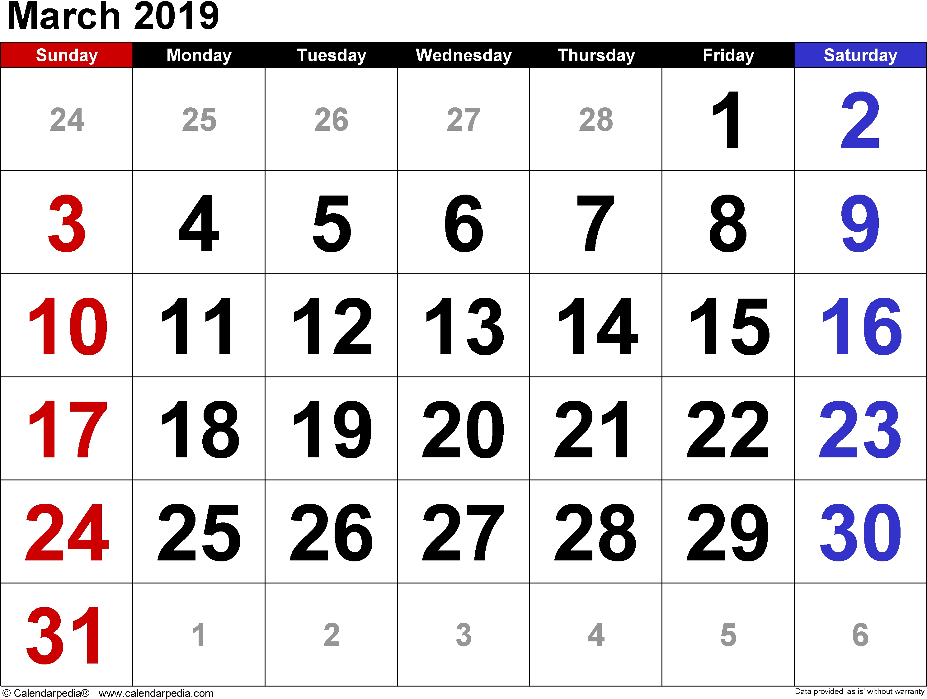 Get Free Template March 2019 A4 Calendar - Free Calendar And Holidays March 2 2019 Calendar