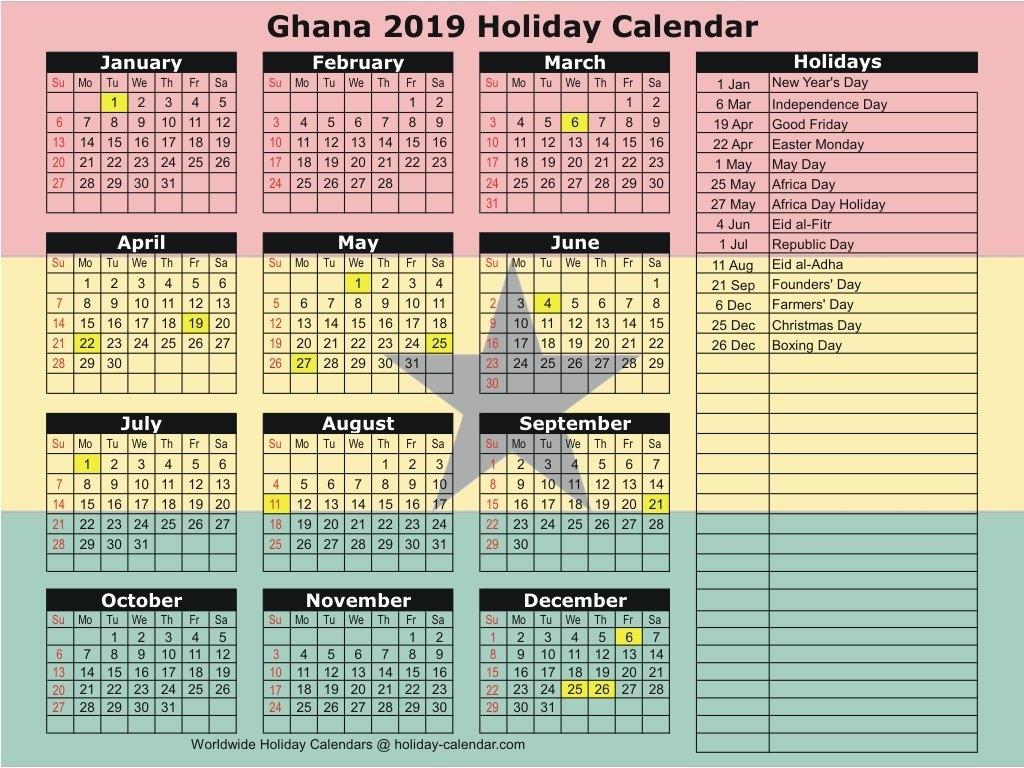 Ghana 2019 / 2020 Holiday Calendar Calendar 2019 Germany Holidays