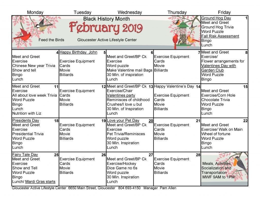 Gloucester Alc Febuary 2019 Calendar – Gloucester Active Lifestyle C&k Calendar 2019