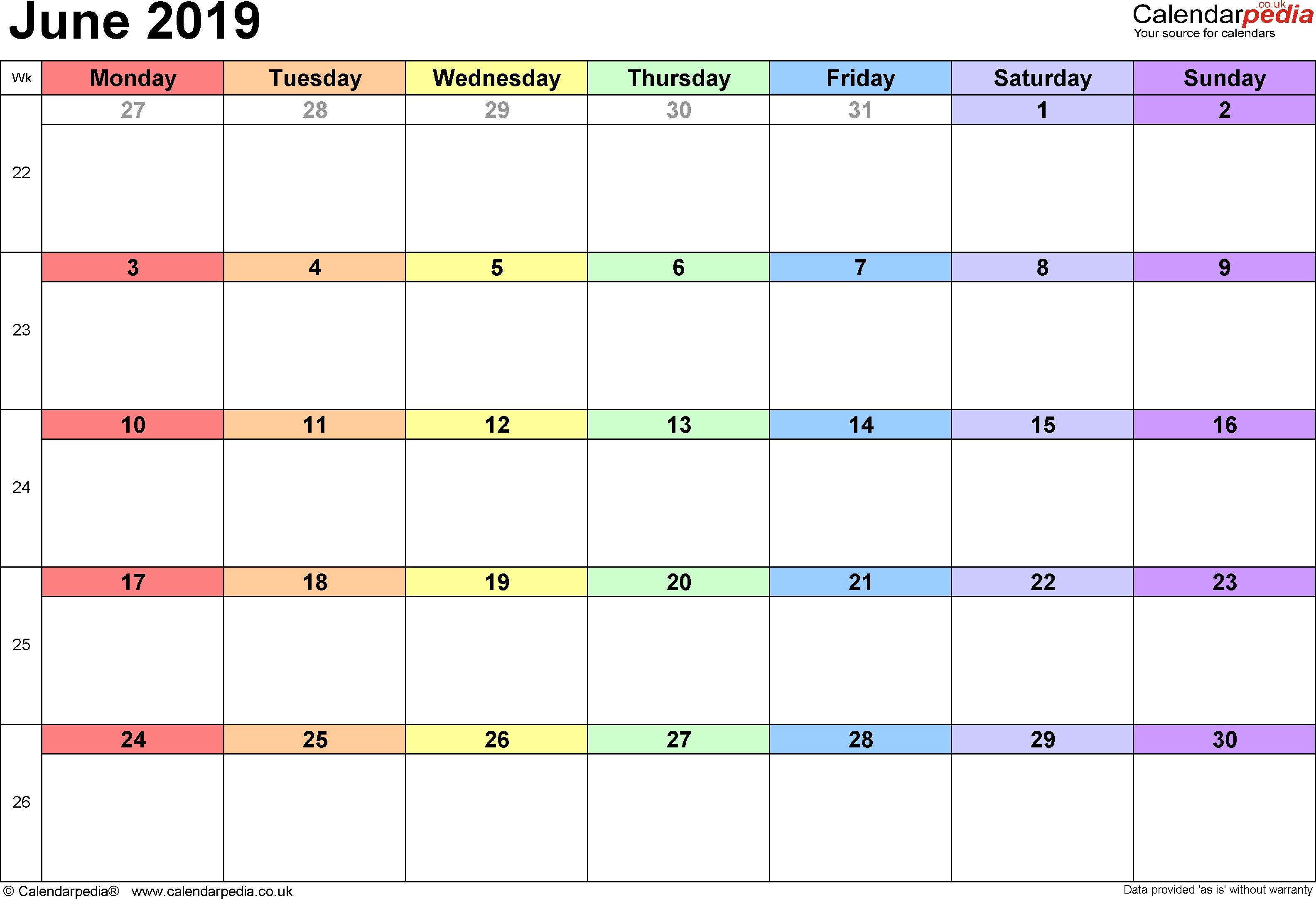 Google Docs Calendar June Template 2019 | Google Docs : A Good Fit Calendar 2019 Google