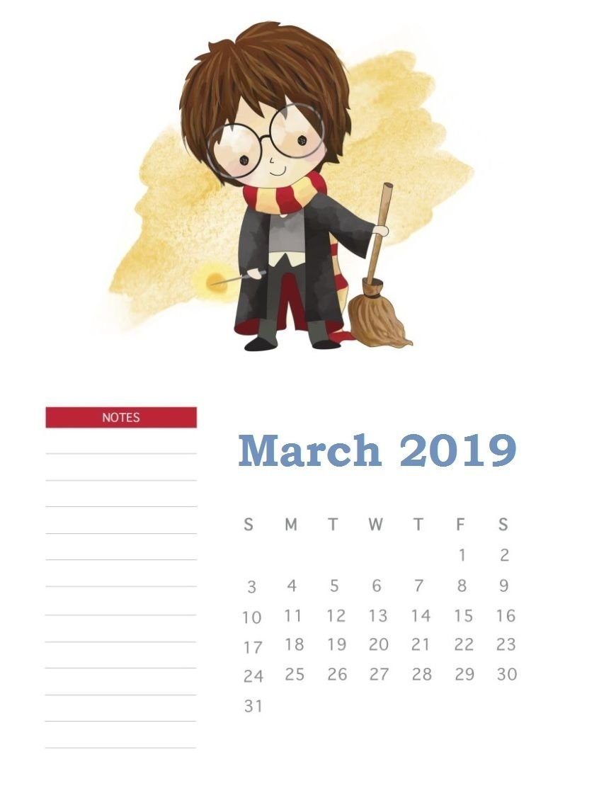 Harry Potter March 2019 Calendar | Template In 2019 | Harry Potter Calendar 2019 Harry Potter