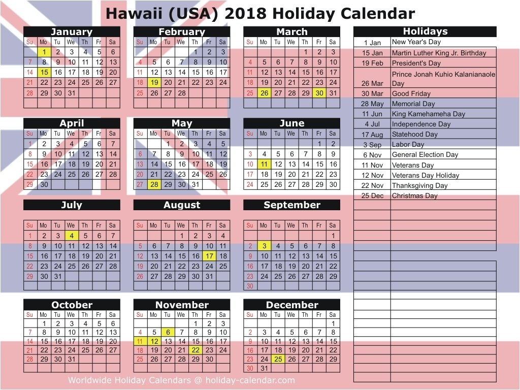 Hawaii (Usa) 2018 / 2019 Holiday Calendar Calendar 2019 Hawaii