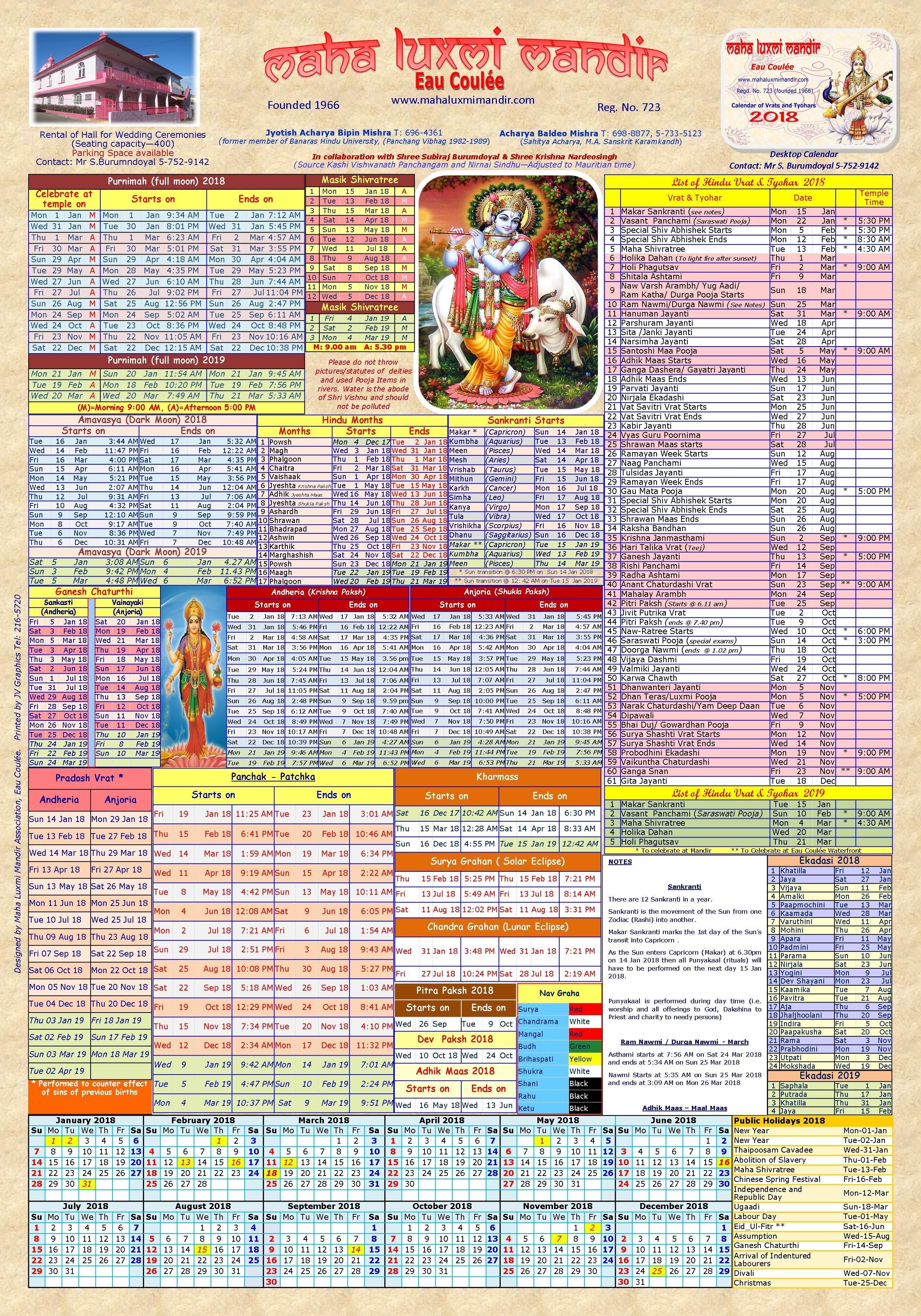Hindu Calendar | Maha Luxmi Mandir, Eau-Coulee, Mauritius Calendar 2019 Vrat
