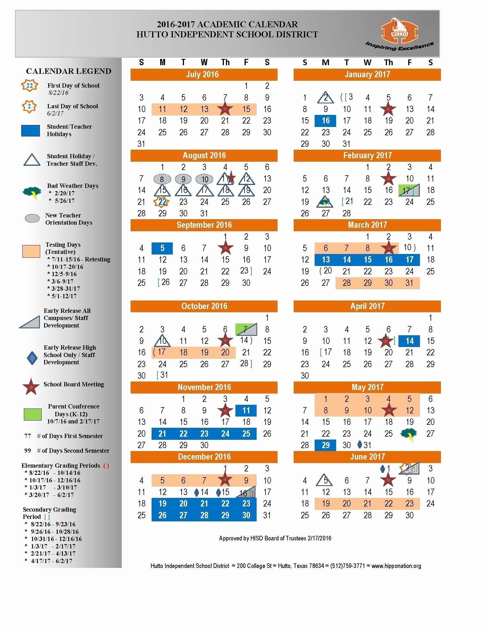 Hisd 2018 Calendar Hisd 2018 Calendar Hisd Calendar 2017 2016 Calendar 2019 Hisd