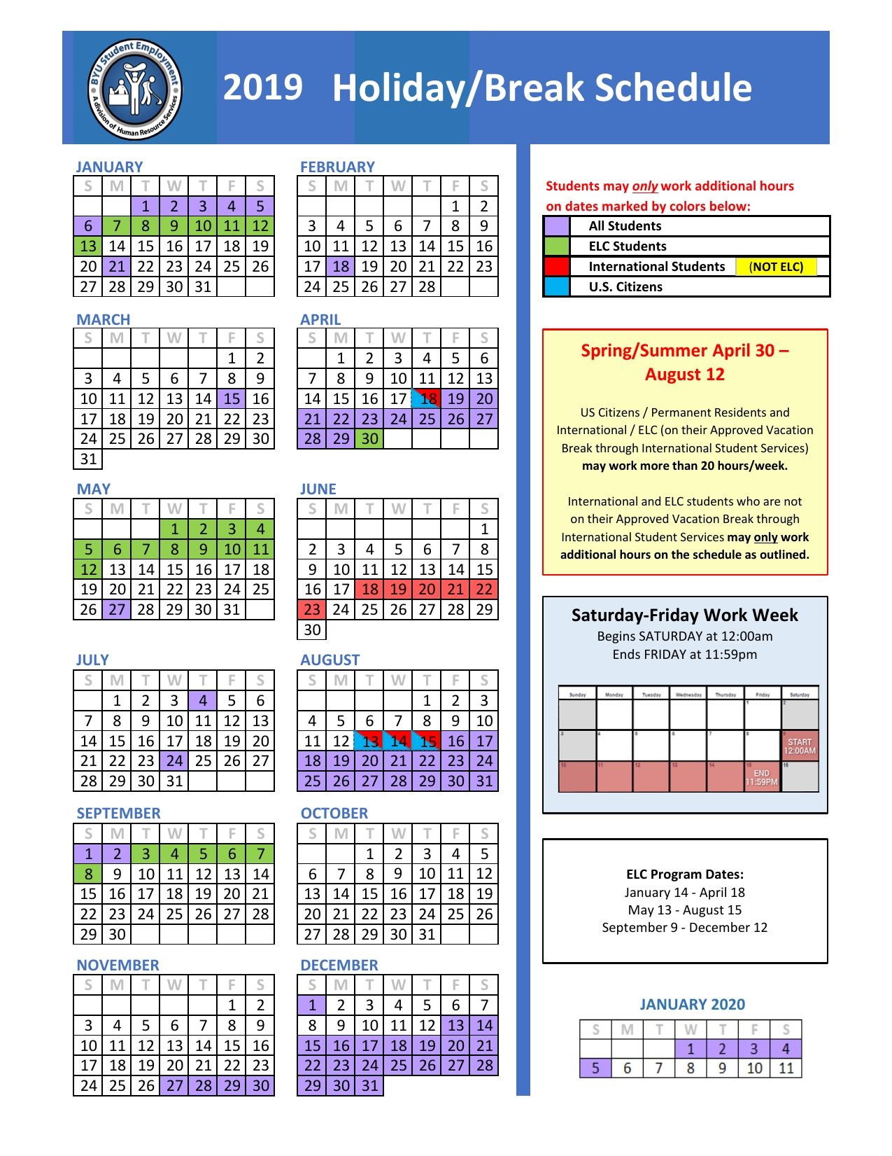 Holiday/break Schedule | Human Resource Services Calendar 2019 Summer