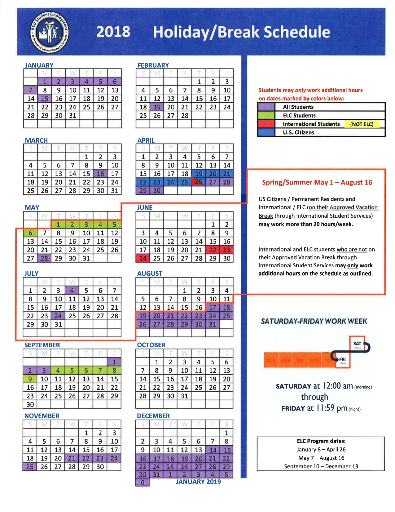 Holiday/break Schedule | Human Resource Services Calendar 2019 Ut