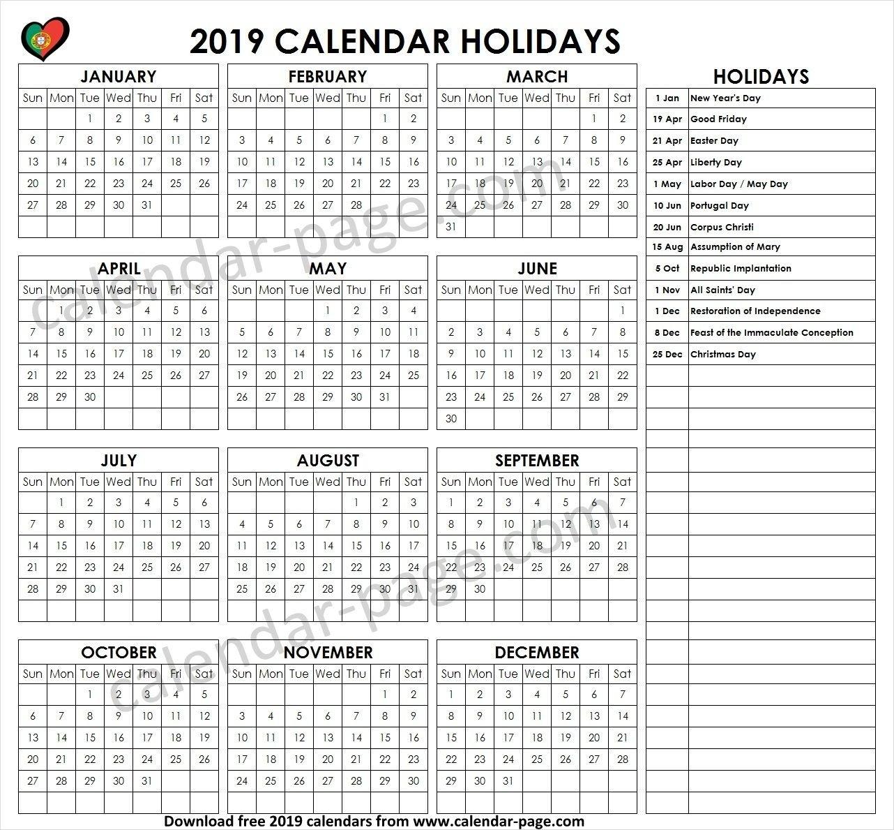 Holiday Calendar 2019 Portugal | Holiday Calendar 2019 | Pinterest Calendar 2019 Labor Day