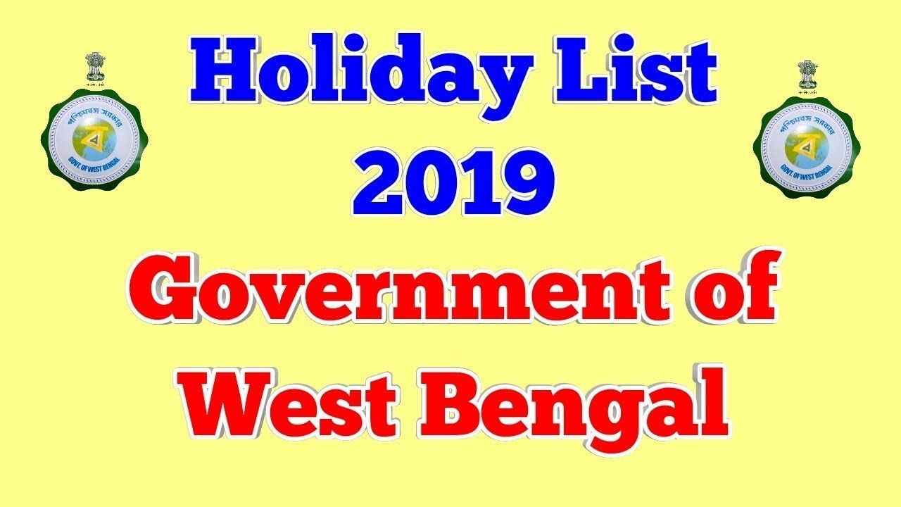 Holiday List 2019, Government Of West Bengal - Youtube W B Govt Calendar 2019