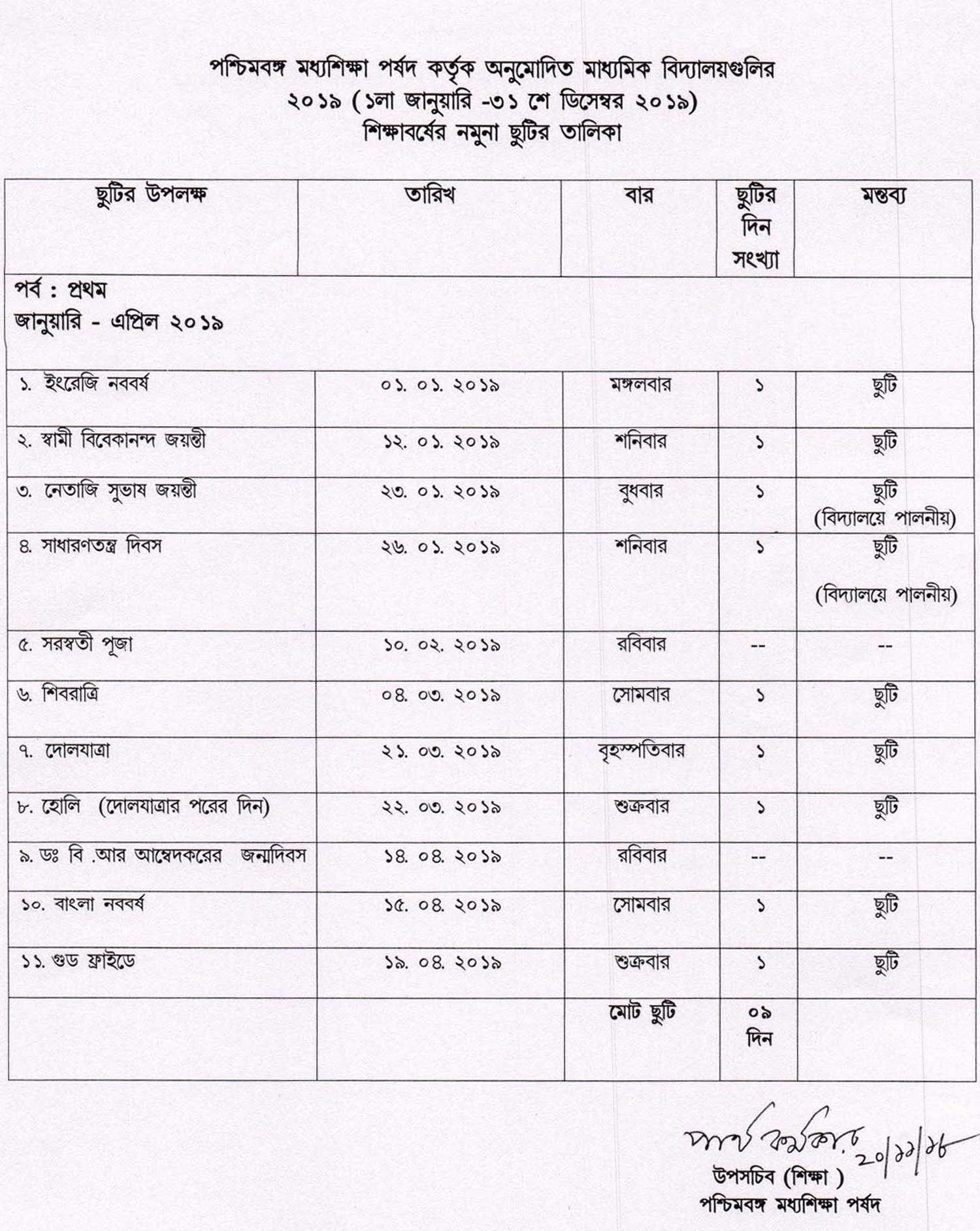 Holiday List Of West Bengal Board Of Secondary Education 2019 | Wbxpress Calendar 2019 Holidays List