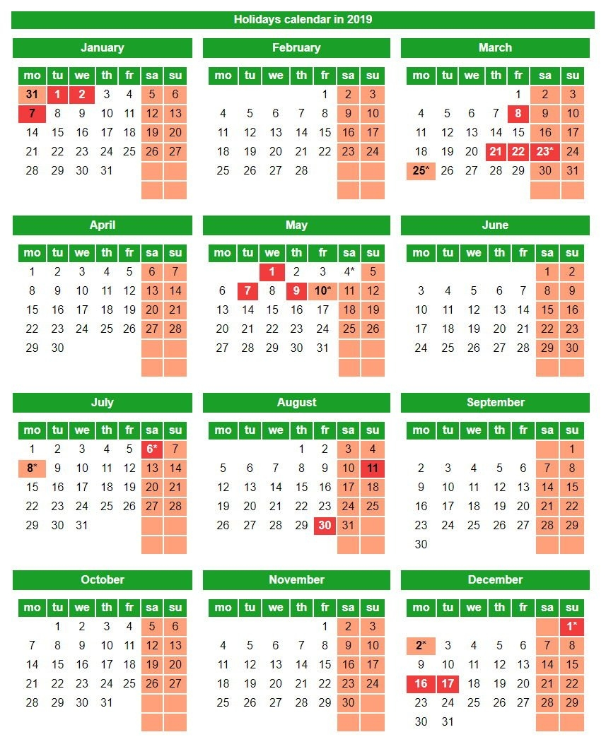 Holidays And Weekends In The Republic Of Kazakhstan In 2019 Calendar 2019 Kazakhstan