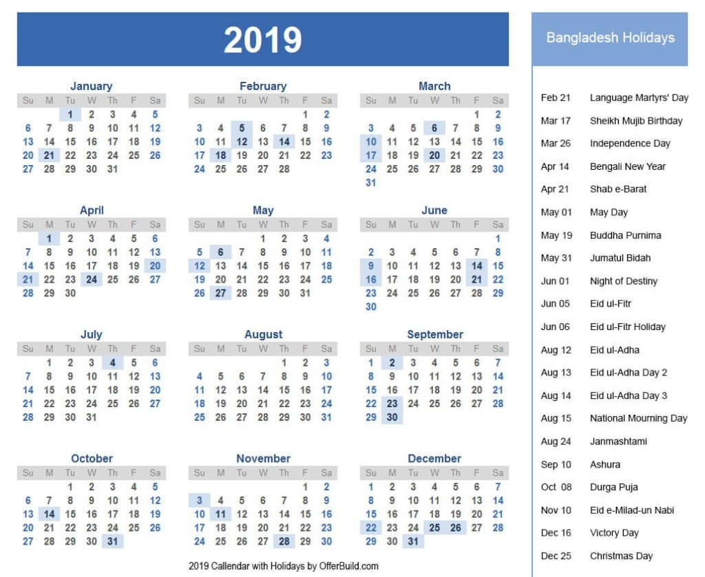 Holidays Bangladesh 2019 Calendar Government Pdf - Offerbuild Calendar 2019 List Of Holidays