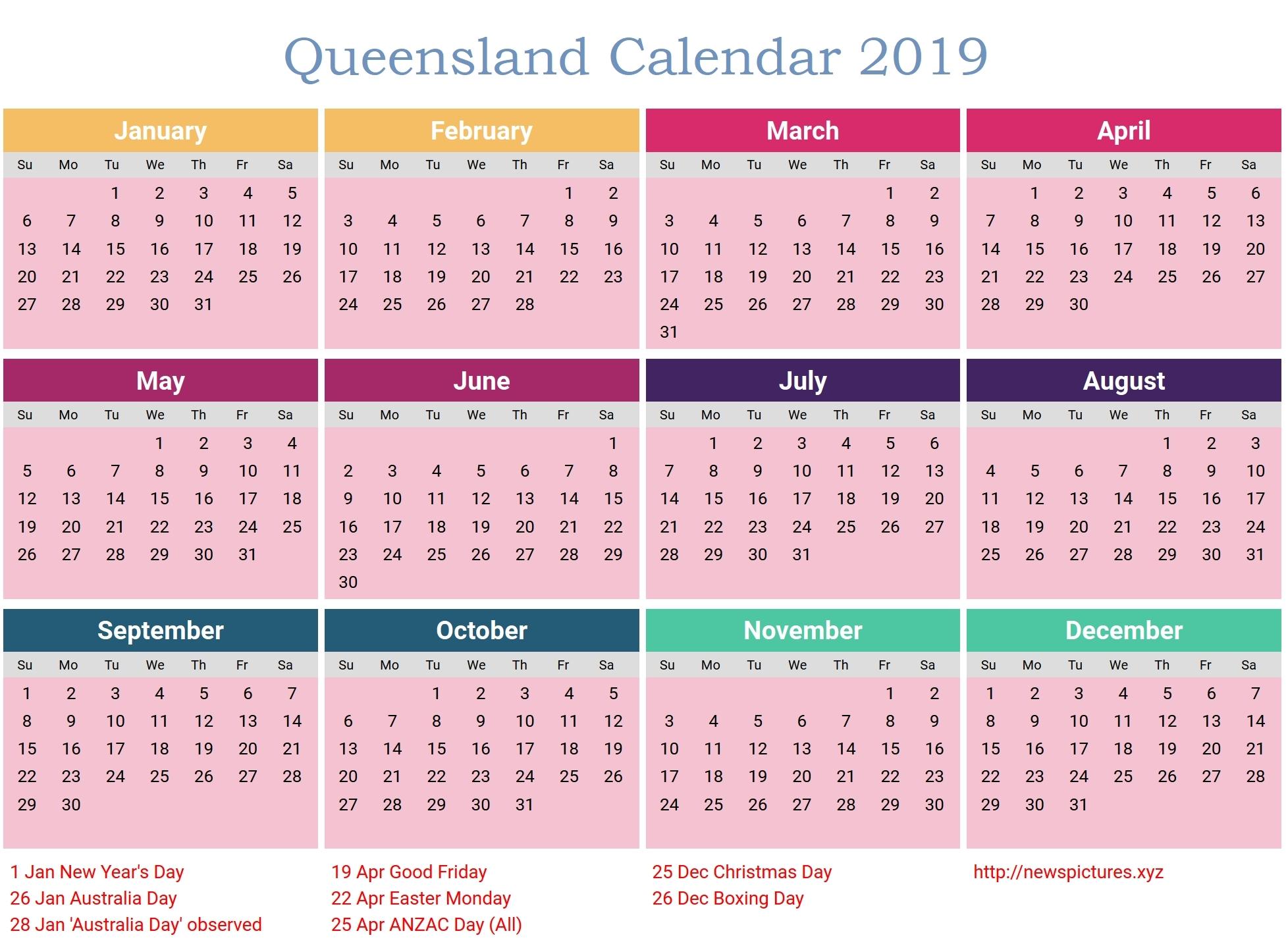 Holidays Calendar Qld 2019 • Printable Blank Calendar Template 2019 Calendar Qld Template