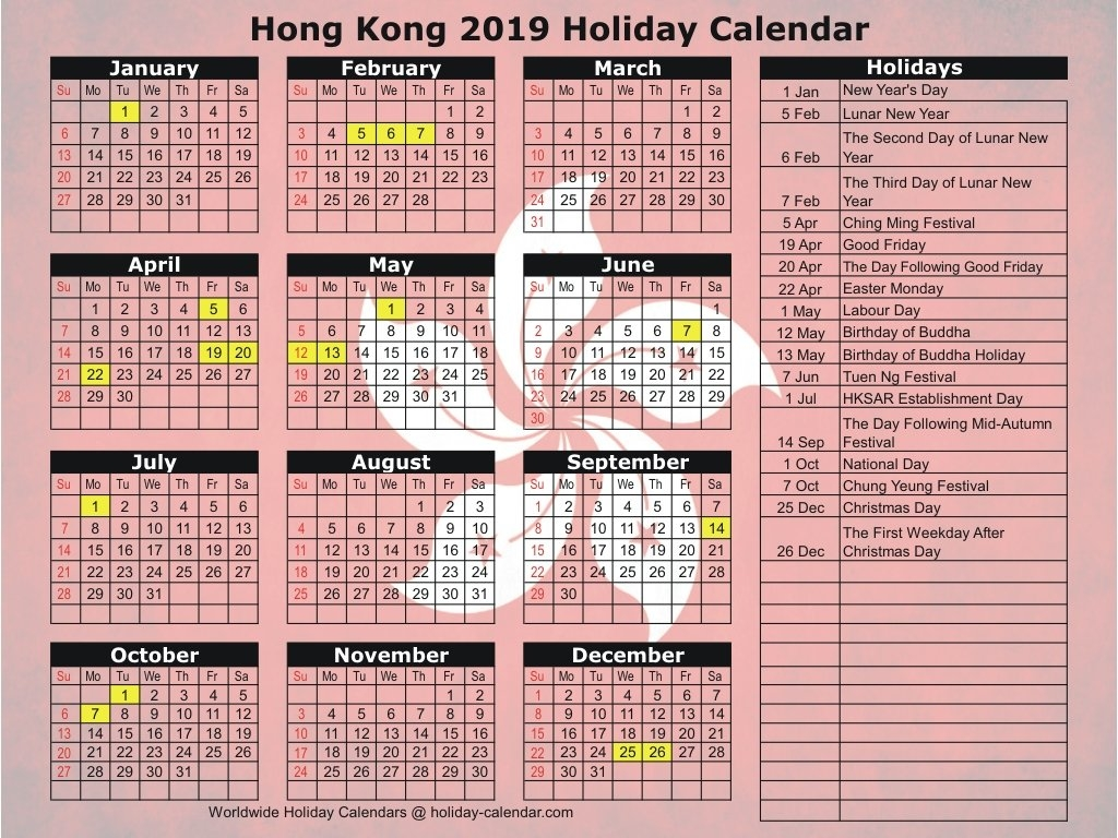 Hong Kong 2019 / 2020 Holiday Calendar Calendar 2019 Hong Kong