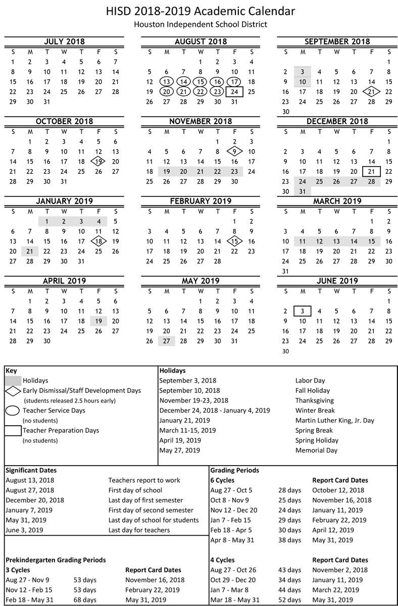 "Houston Isd On Twitter: ""now Available! Download Your 2018-2019 Calendar 2019 Hisd"