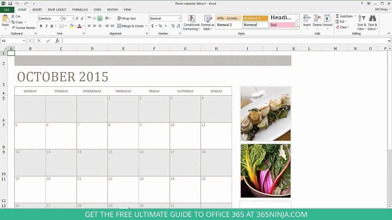 How To Create A Calendar In Excel - Youtube Calendar 2019 Interactive