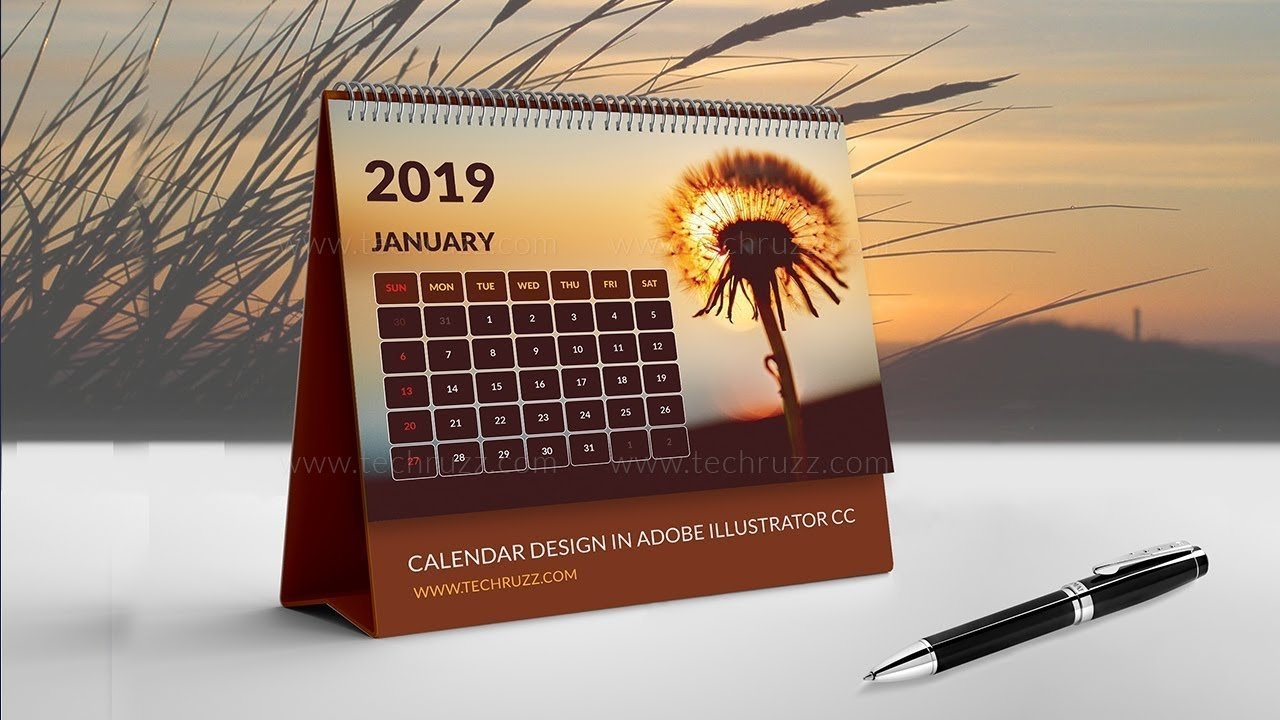 How To Create Or Design A Calendar In Illustrator Cc 2019 Desk Calendar 2019 Illustrator