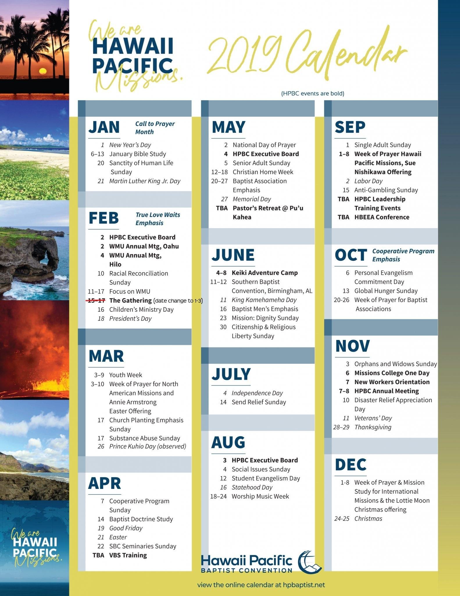 Hpbc Calendar 2019 Calendar 2019 Hawaii